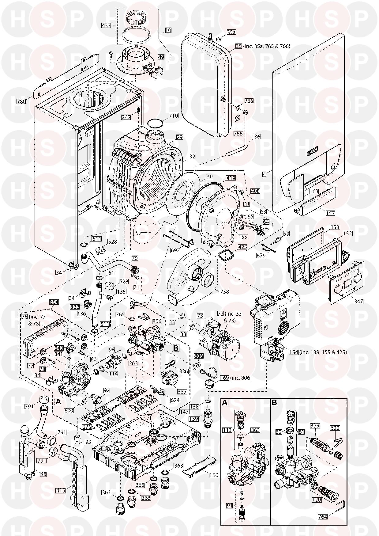 Baxi 228 Combi  Exploded View Diagram