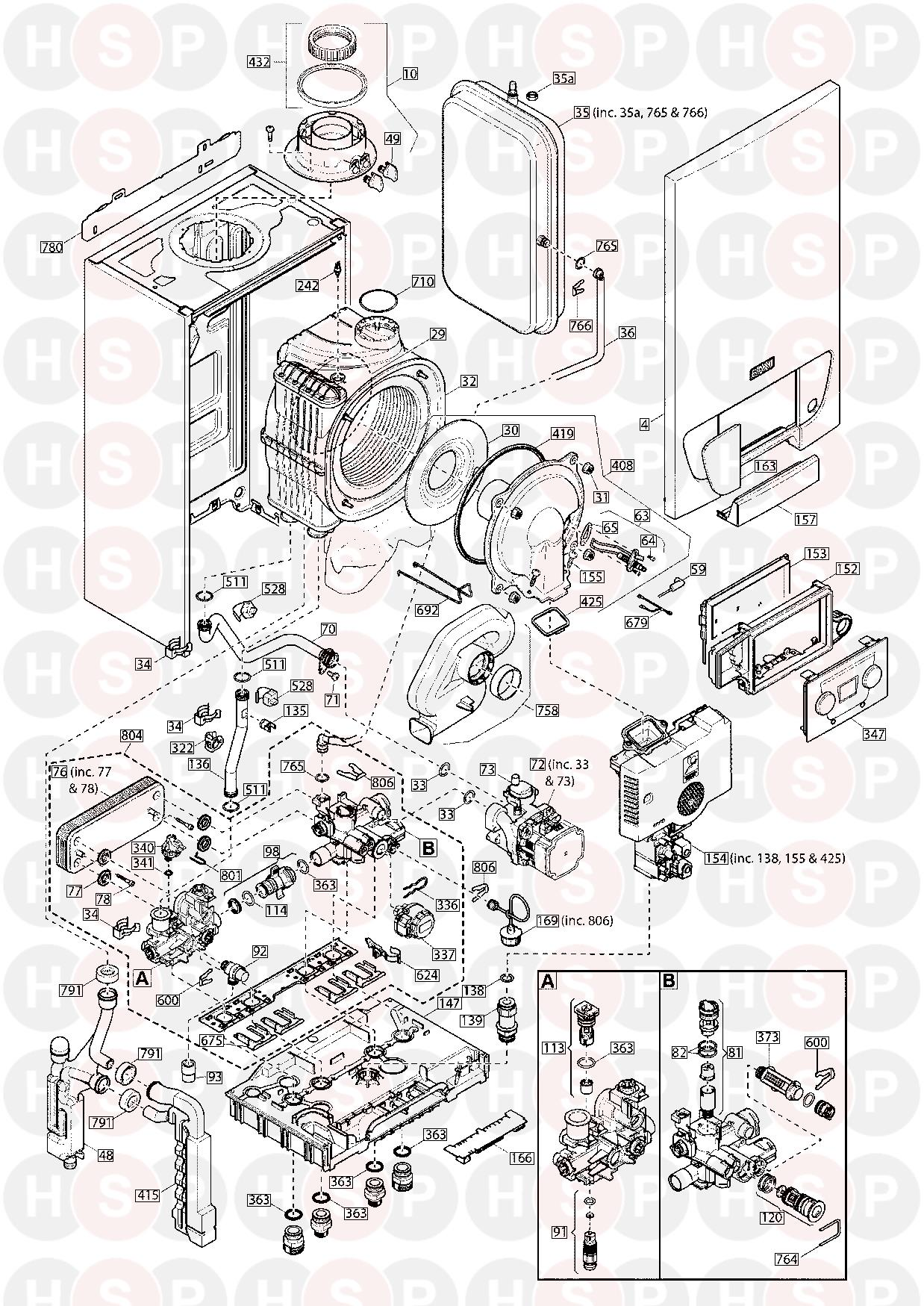 Baxi 424 Combi  Exploded View Diagram