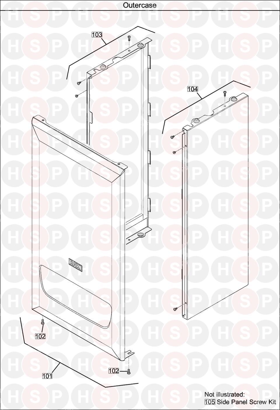 baxi 630 combi  casing  diagram
