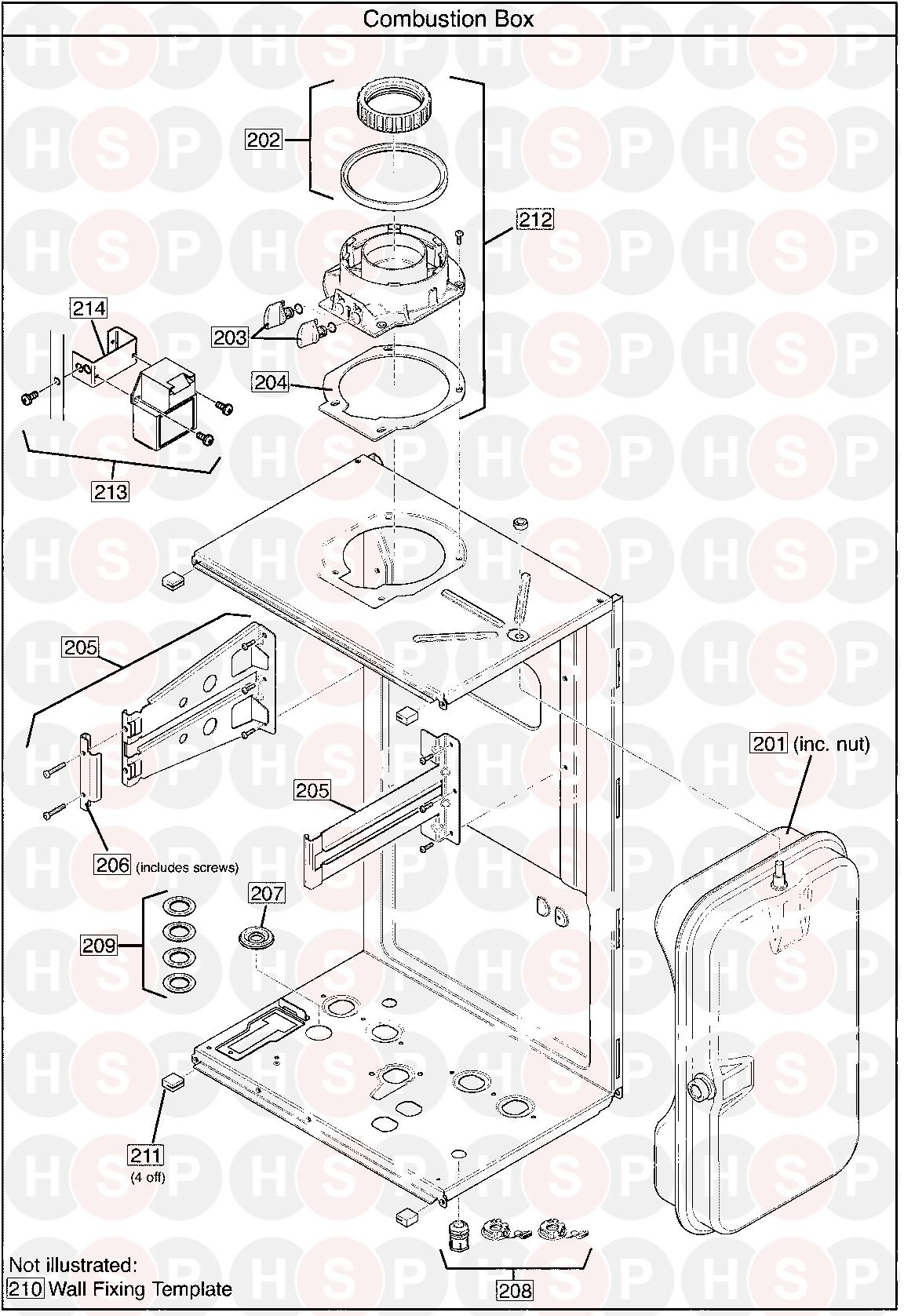 COMBUSTION BOX diagram for Baxi SYSTEM 12