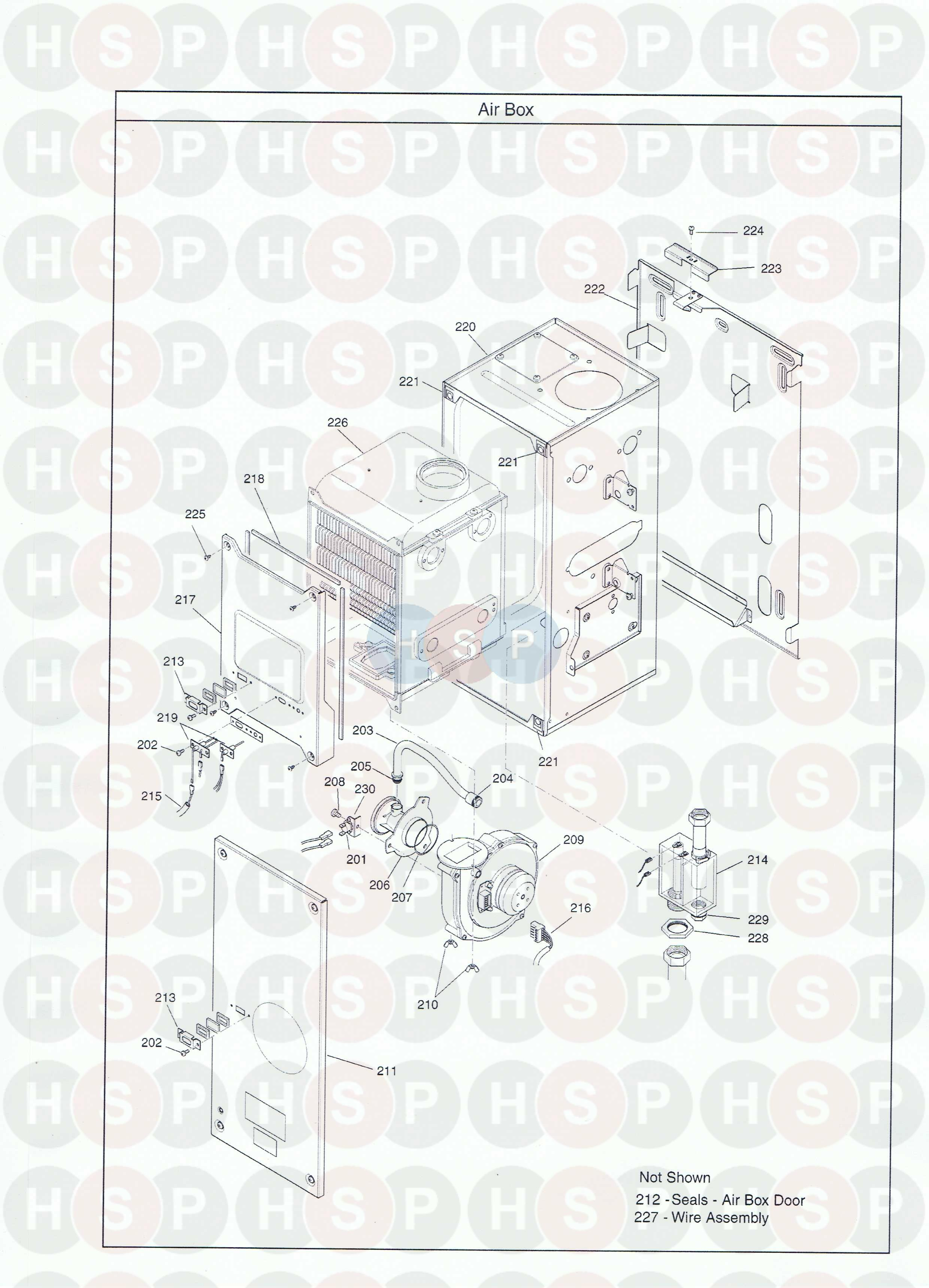 Combustion Box diagram for Baxi 50/2 HE PLUS