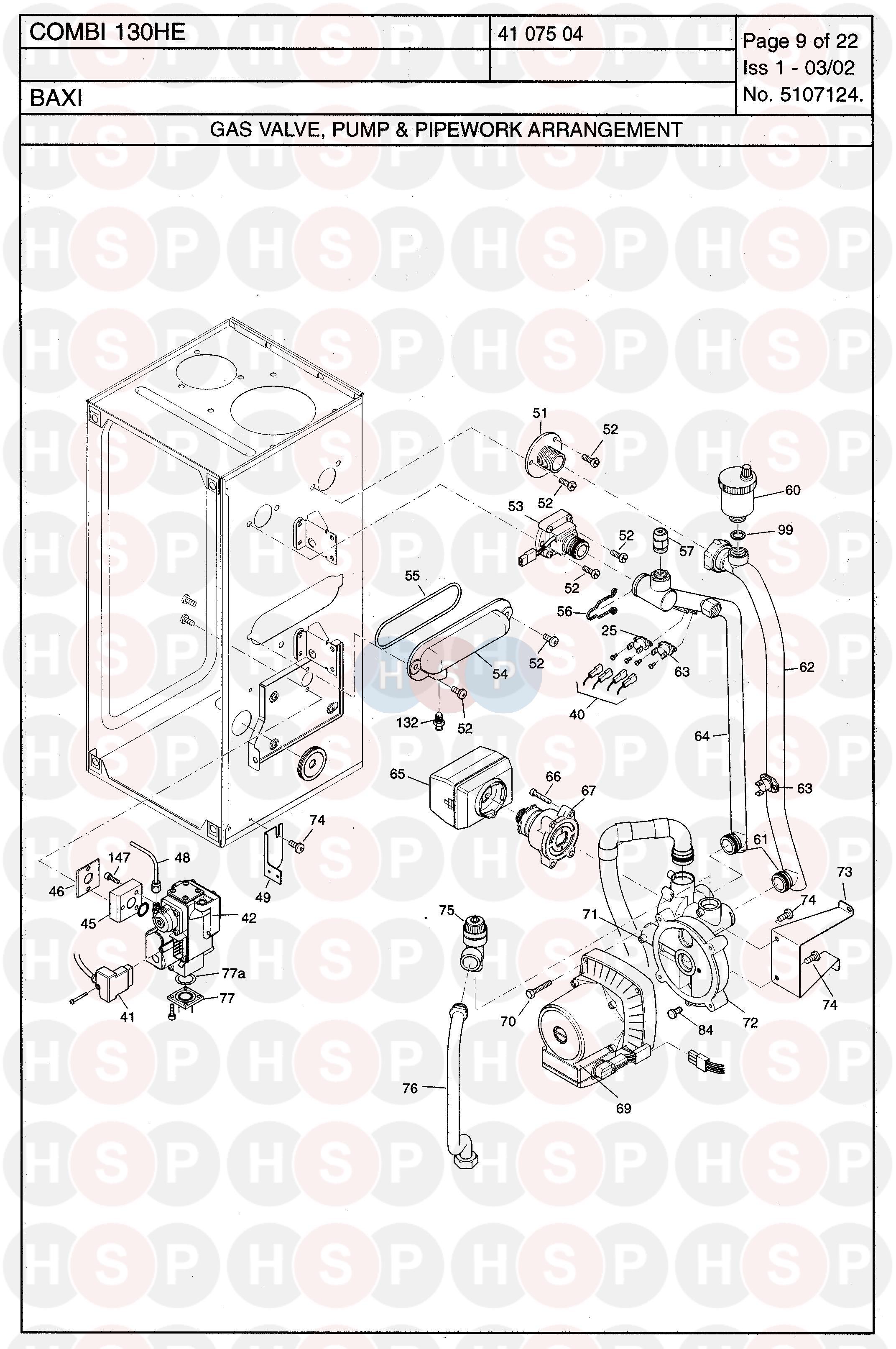 Baxi COMBI 130HE Appliance Diagram (GAS VALVE/PUMP