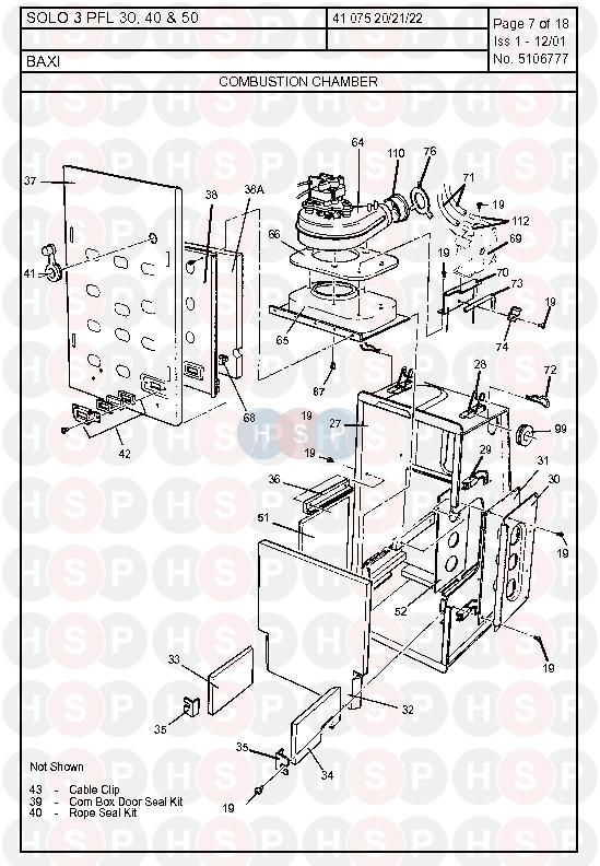 baxi solo 3 pfl 50  combustion chamber  diagram