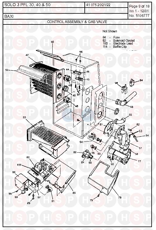 Baxi SOLO 3 PFL 40 (Control Assembly & Gas Valve) Diagram