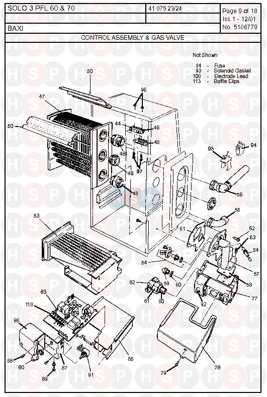 Baxi SOLO 3 PFL 60 (Control Assembly & Gas Valve) Diagram