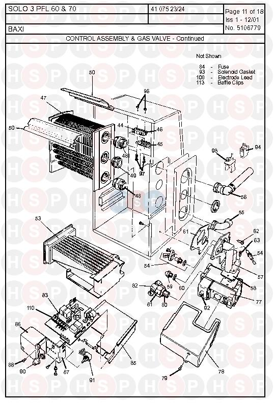 Baxi SOLO 3 PFL 60 (Control Assembly & Gas Valve 2