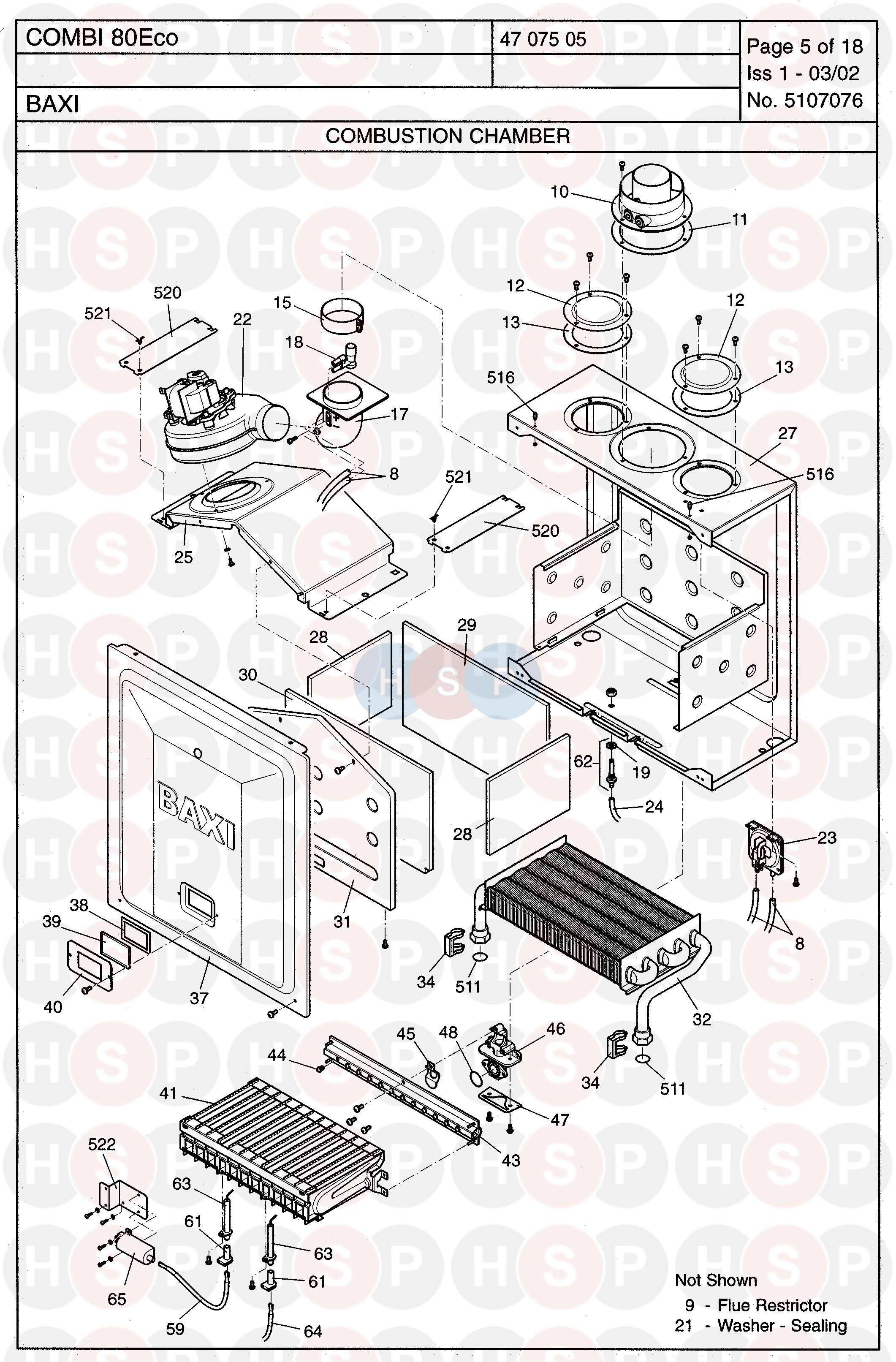 baxi combi 80 eco  combustion chamber  diagram