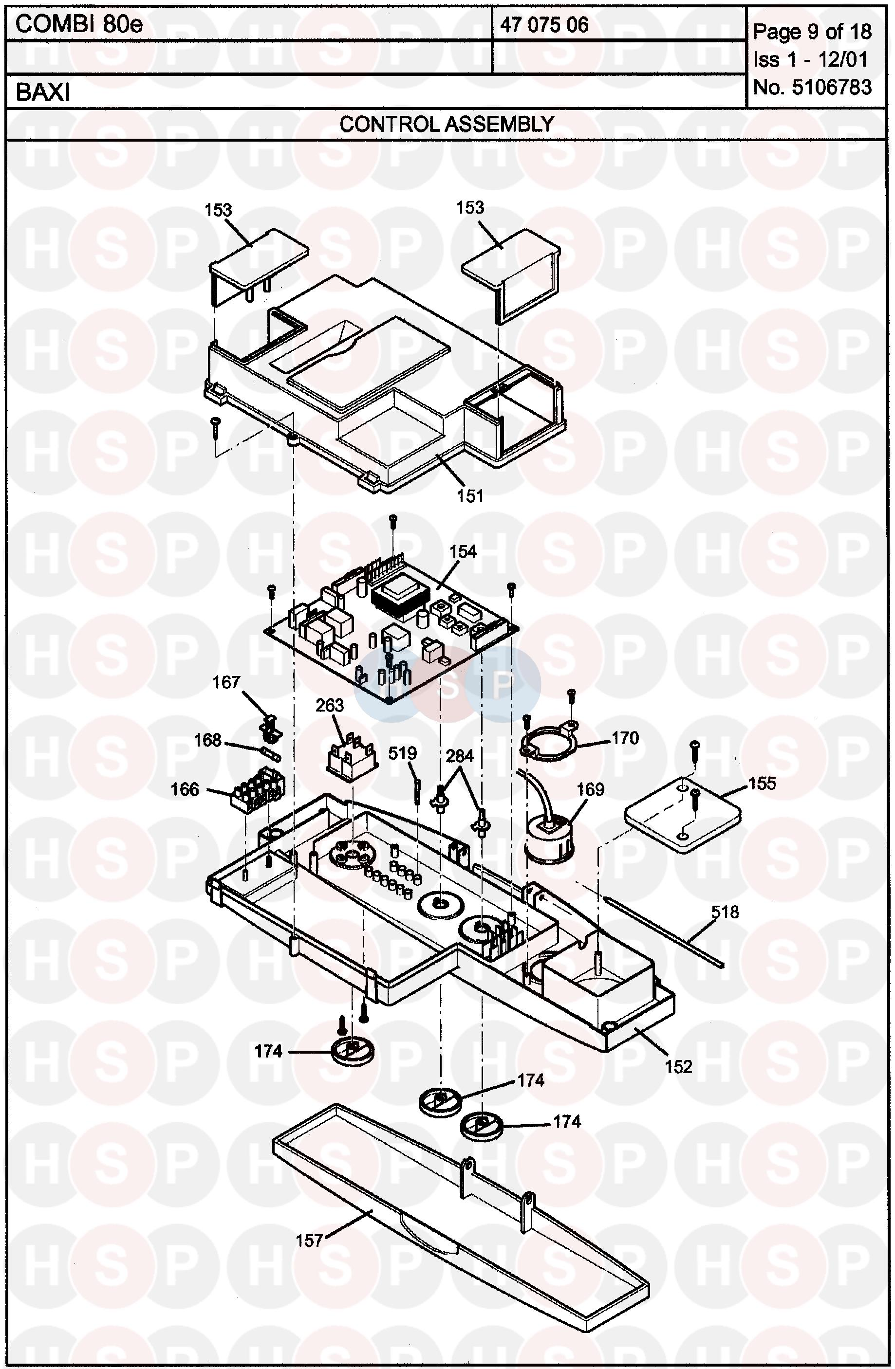 Baxi COMBI 80E Appliance Diagram (Control Assembly