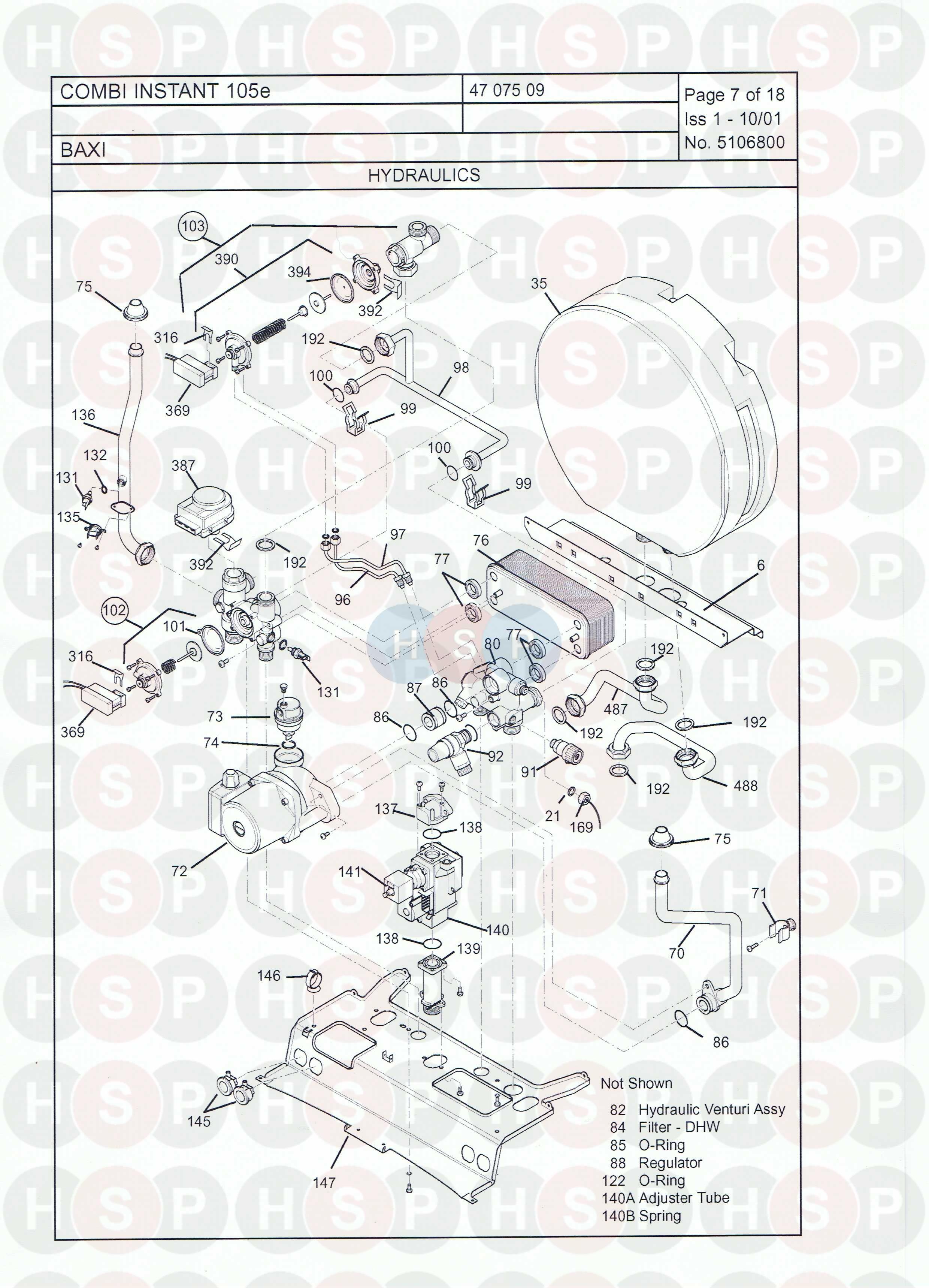 baxi combi instant 105 e  hydraulics  diagram