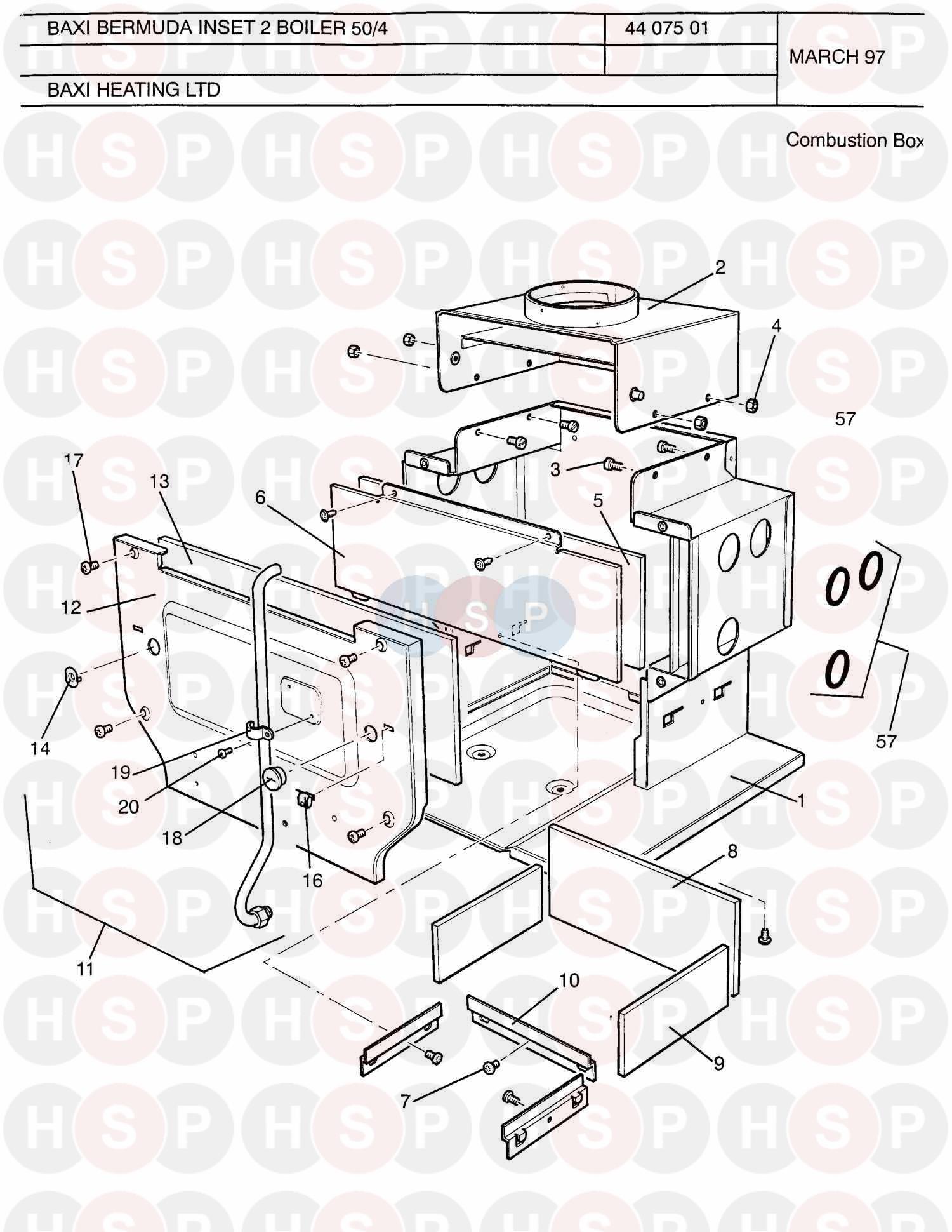 Baxi BERMUDA INSET 50/4 ASD (Combustion Box) Diagram