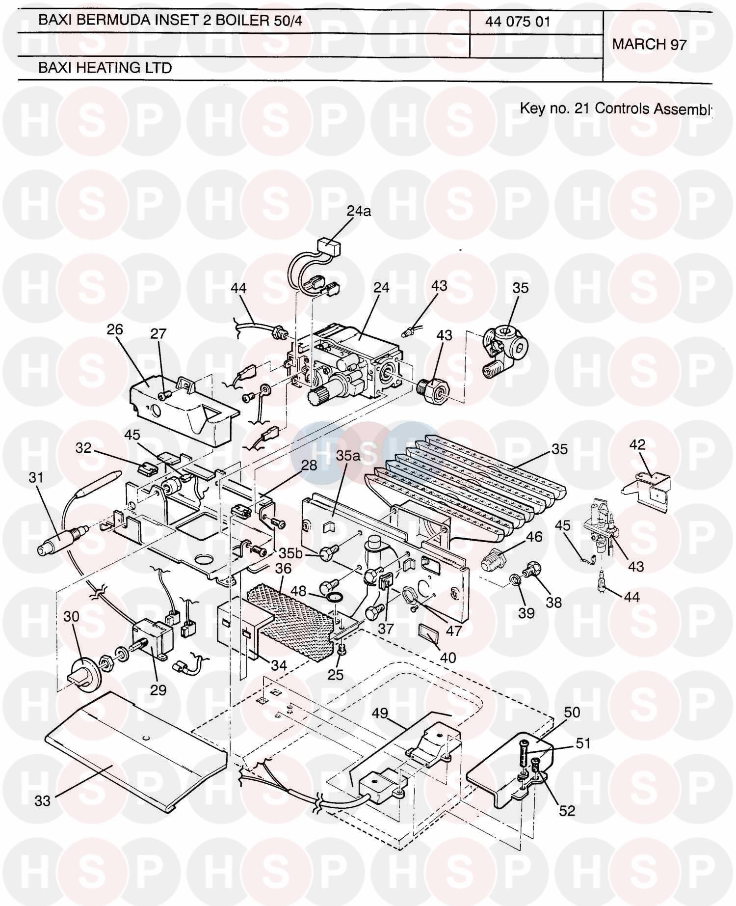 Baxi Bermuda Inset 50  4 Asd  Controls Assembly Diagram