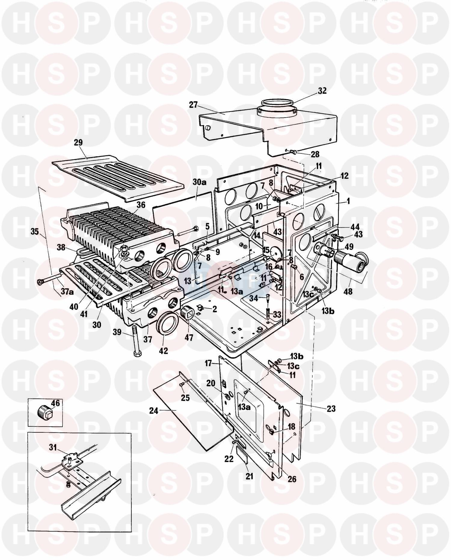 Baxi BERMUDA 401 BOILER ONLY Appliance Diagram (Boiler