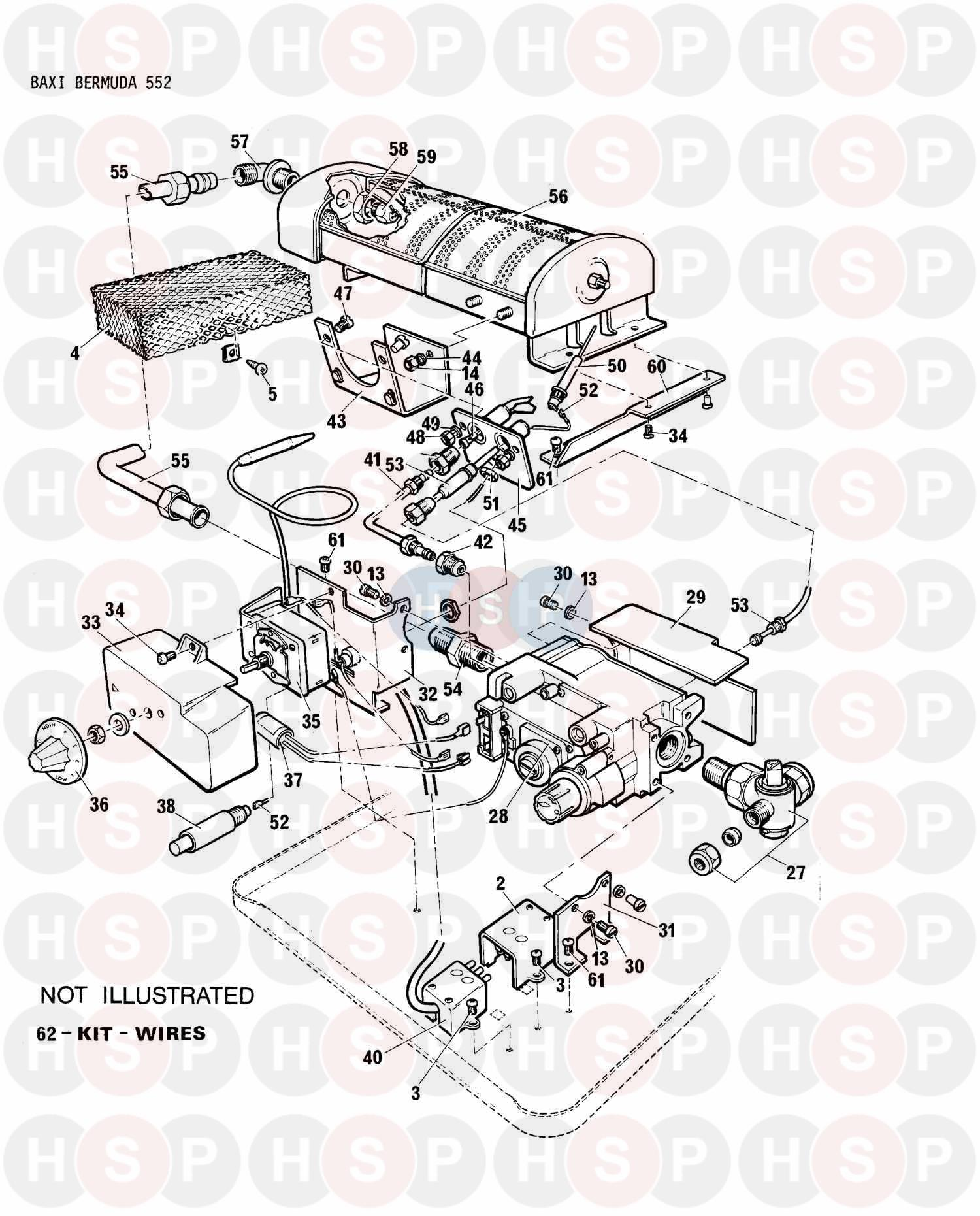 Baxi BERMUDA 552 LPG Appliance Diagram (Controls