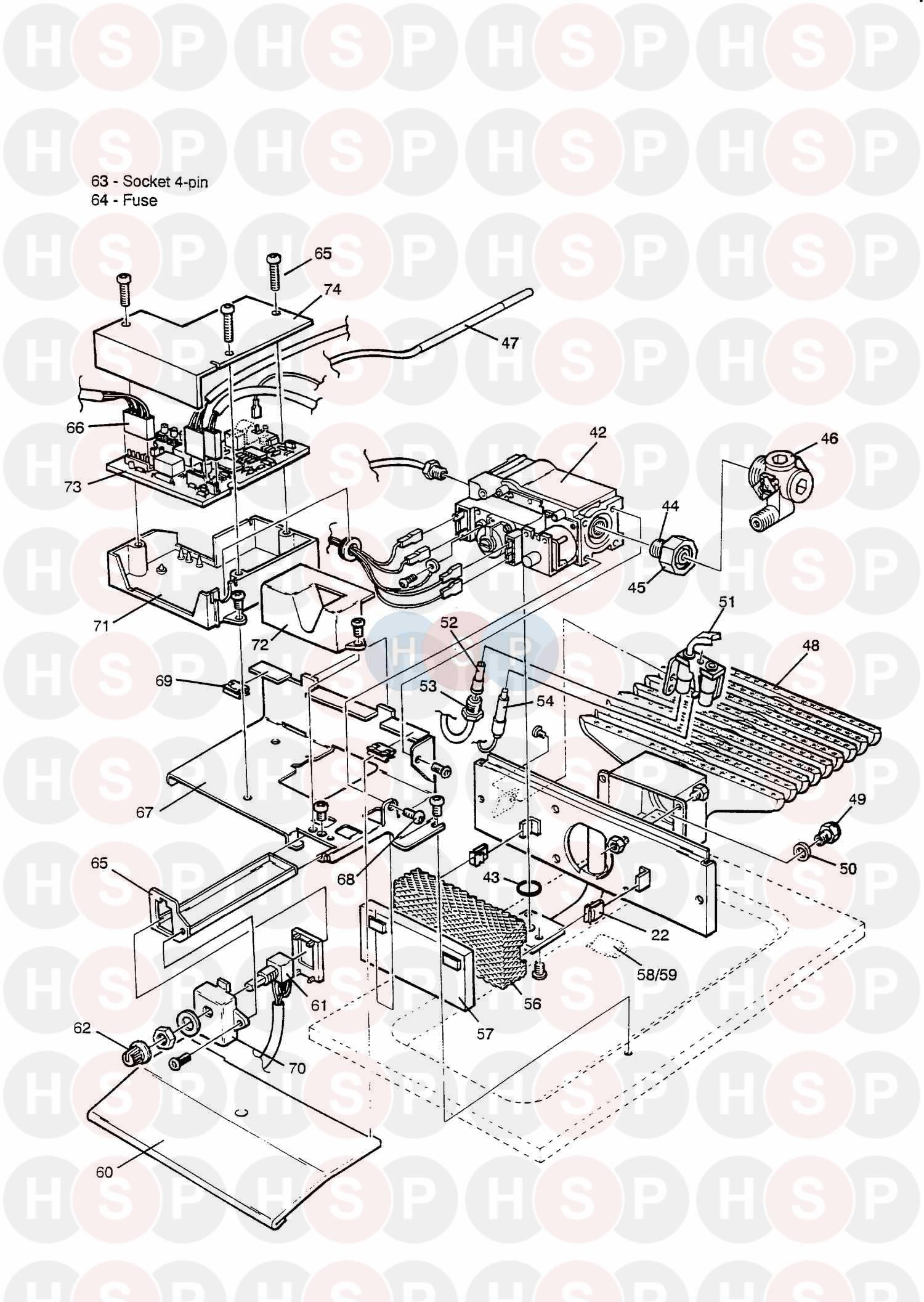 Baxi BERMUDA 45/3 E Appliance Diagram (BURNER & CONTROLS