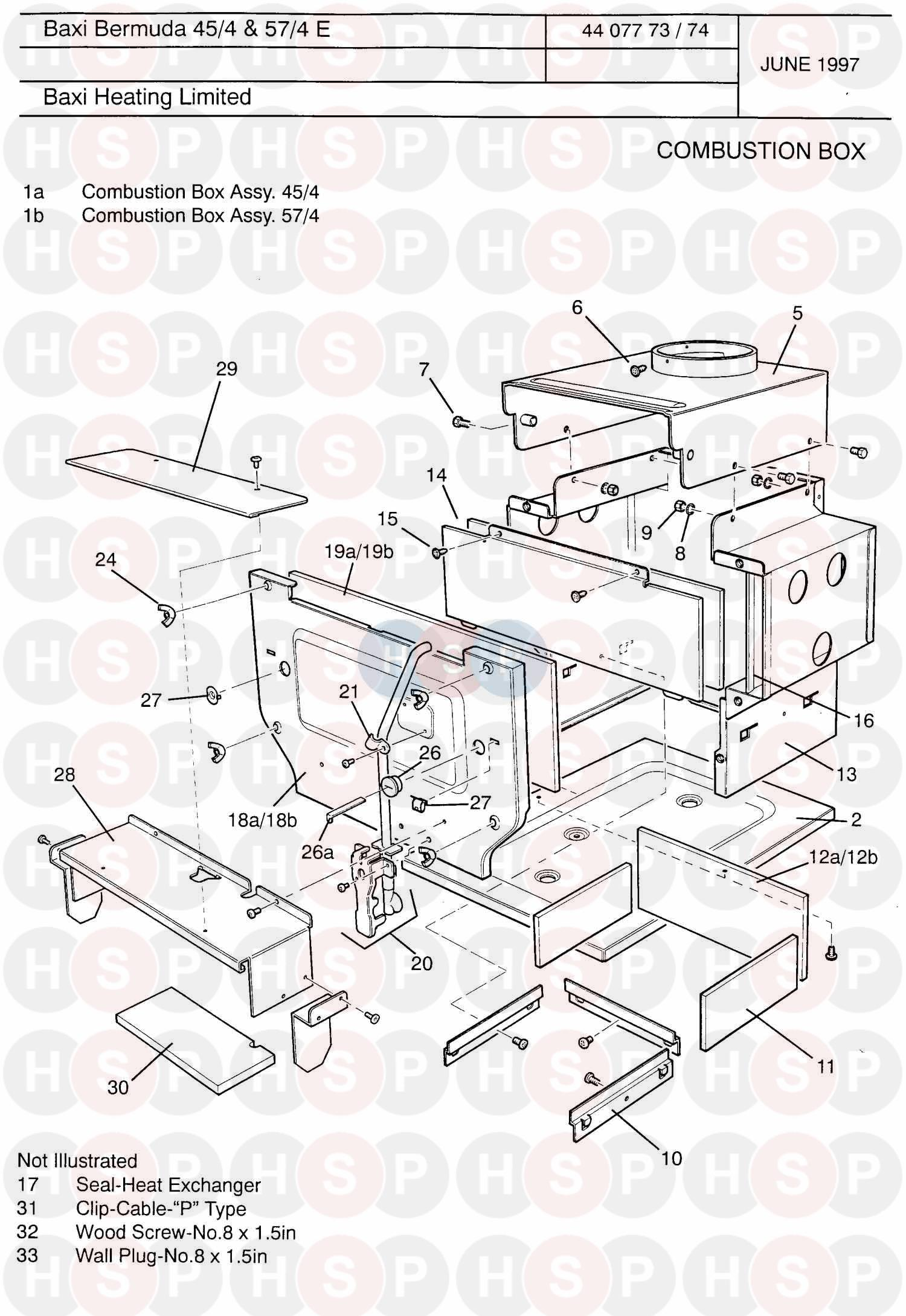 Baxi BERMUDA 57/4 ELECTRONIC (Combustion Box) Diagram