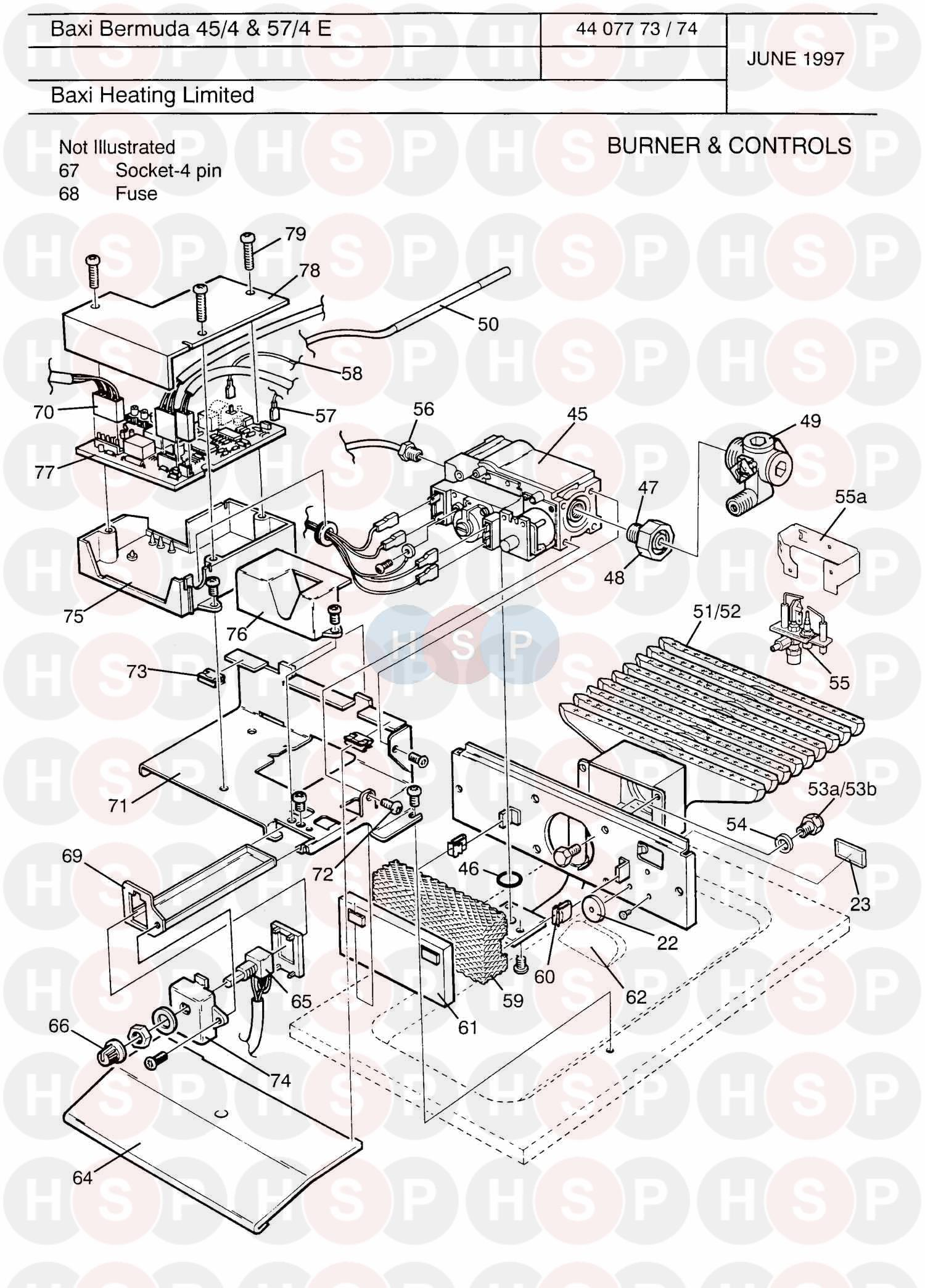 Baxi BERMUDA 45/4 ELECTRONIC Appliance Diagram (BURNER