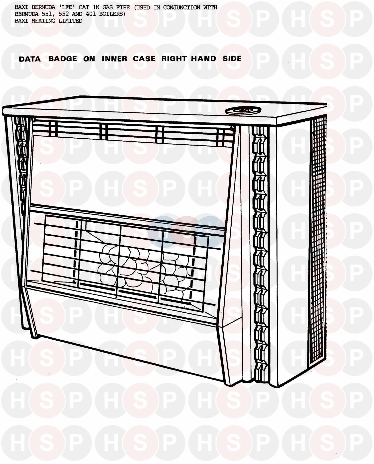 Baxi BERMUDA LFE FIRE ONLY Appliance Diagram (OVERVIEW