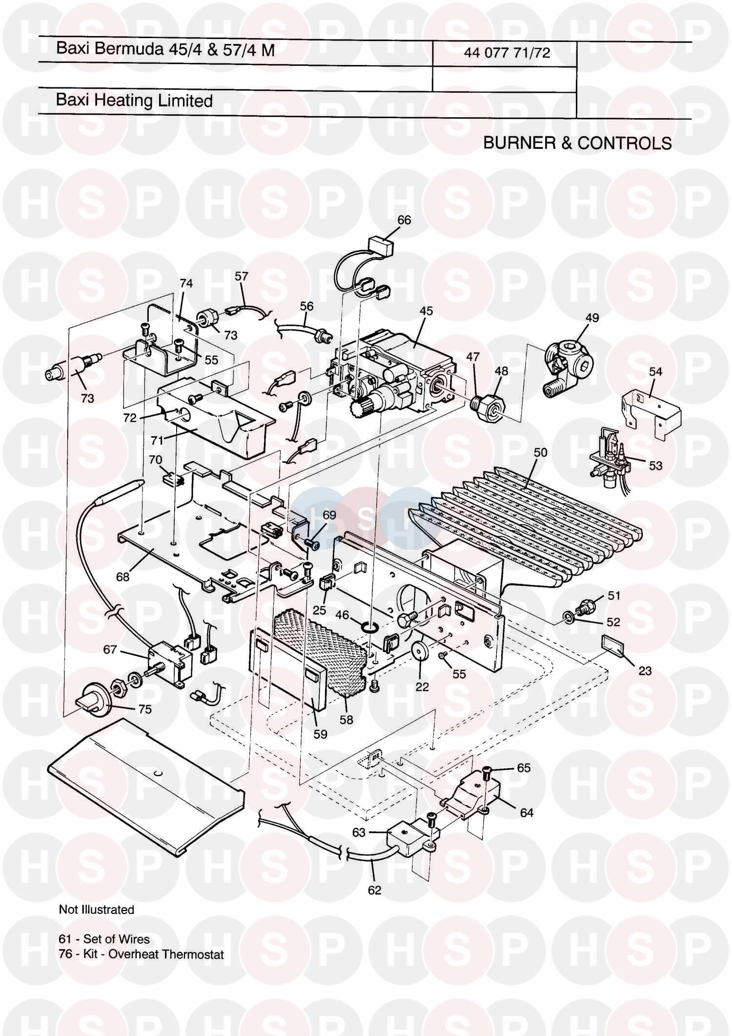 baxi bermuda 45  4 manual appliance diagram  burner  u0026 controls