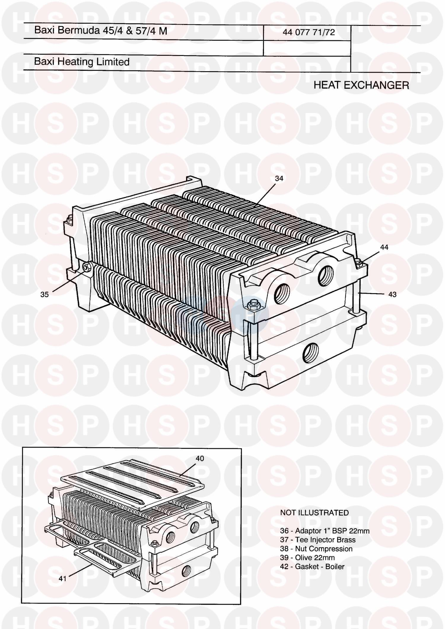 Baxi BERMUDA 45/4 MANUAL (HEAT EXCHANGER) Diagram