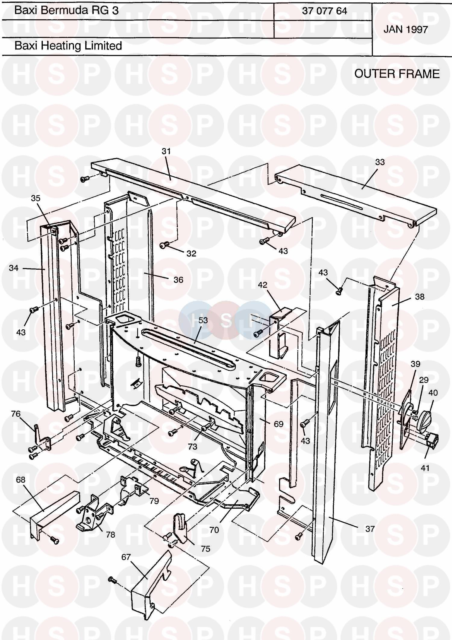 Outer Frame diagram for Baxi Bermuda RG3 Renewal NG