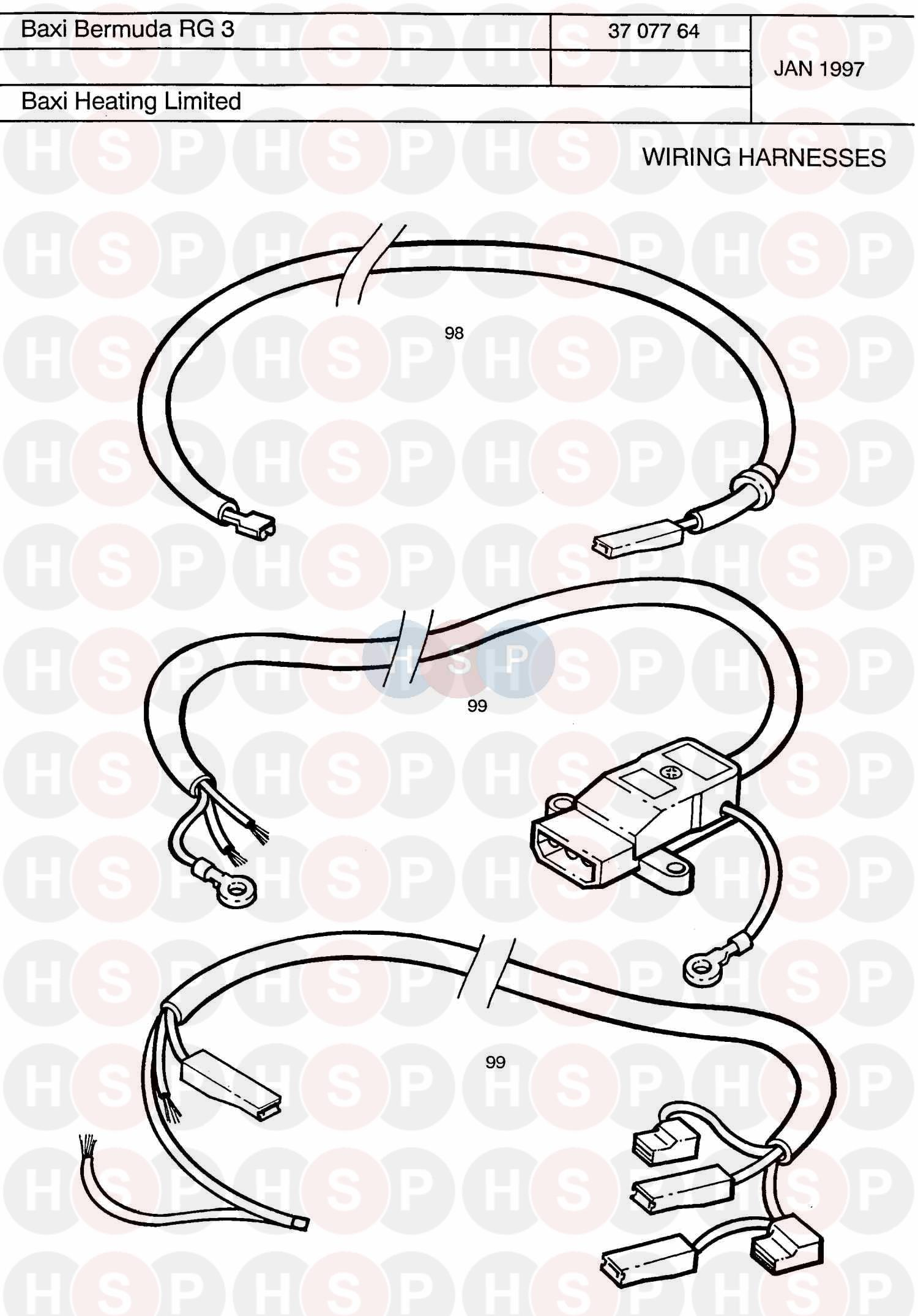Wiring Harness diagram for Baxi BERMUDA RG3 RENEWAL NG