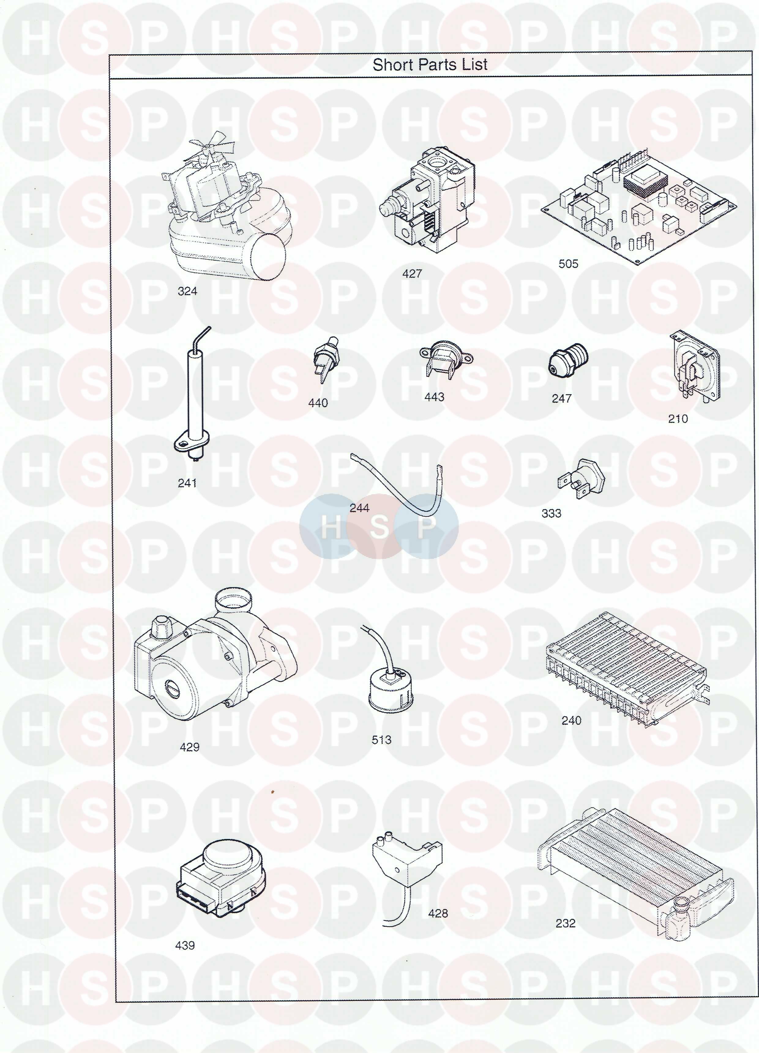 Baxi COMBI INSTANT 105E HE (SHORT PARTS LIST) Diagram