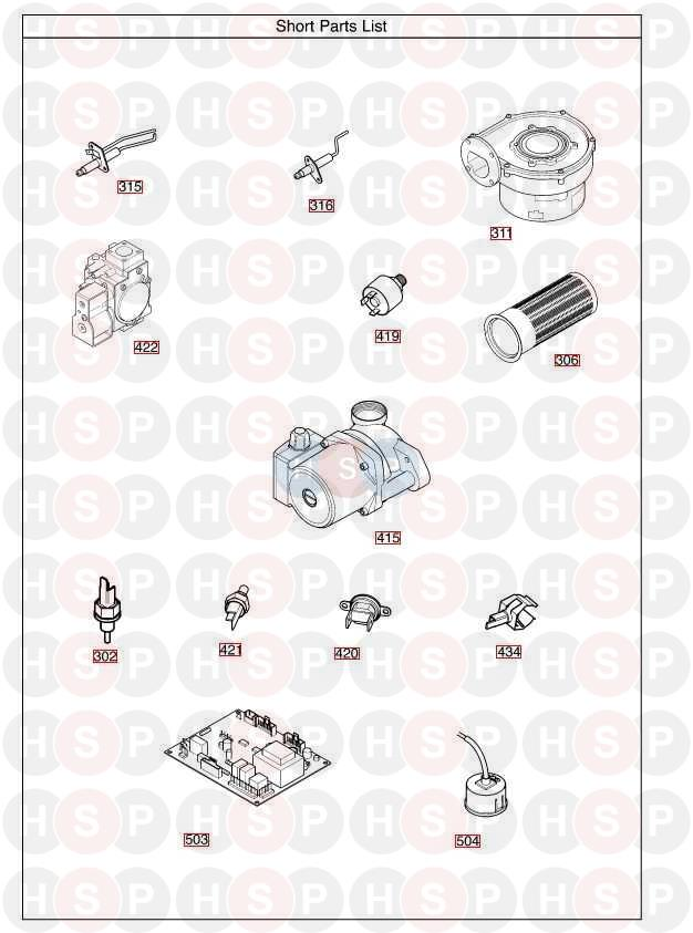 baxi megaflo 15 he a appliance diagram  short parts list