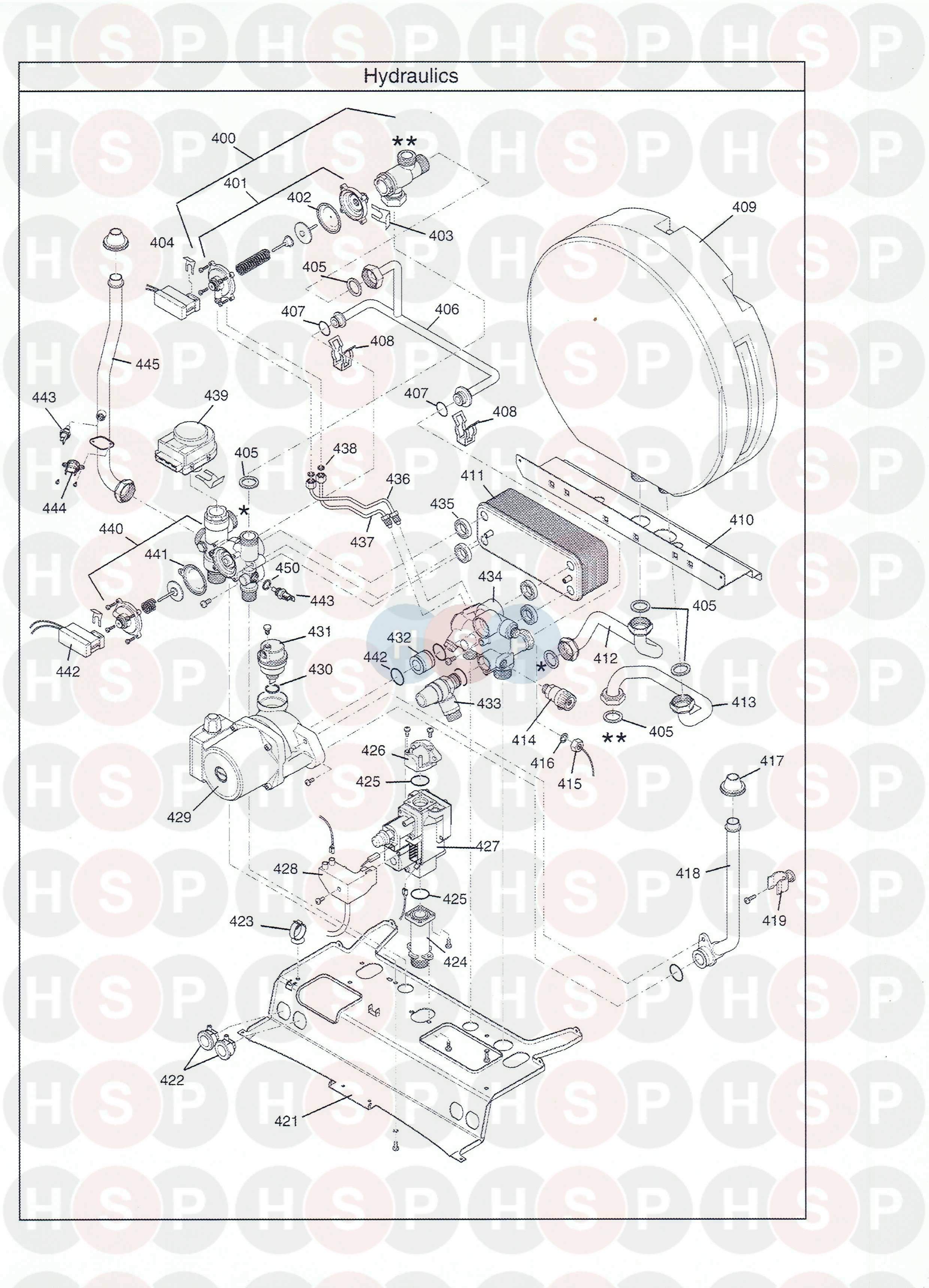 baxi combi instant 105e he  hydraulics  diagram