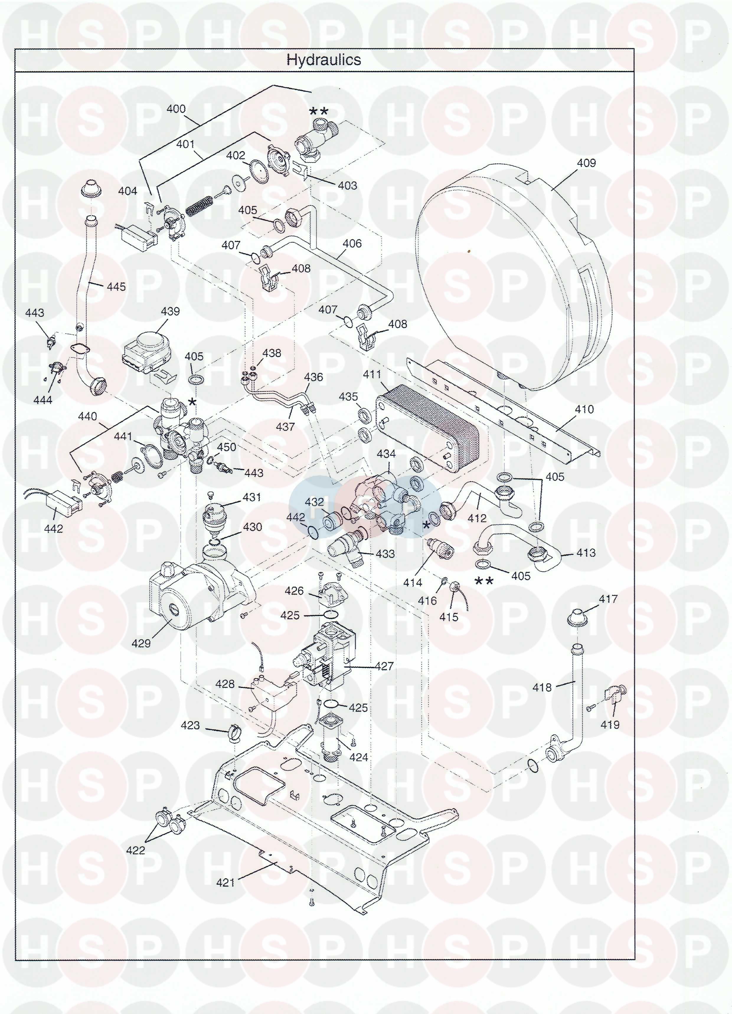 baxi combi instant 105e he appliance diagram  hydraulics