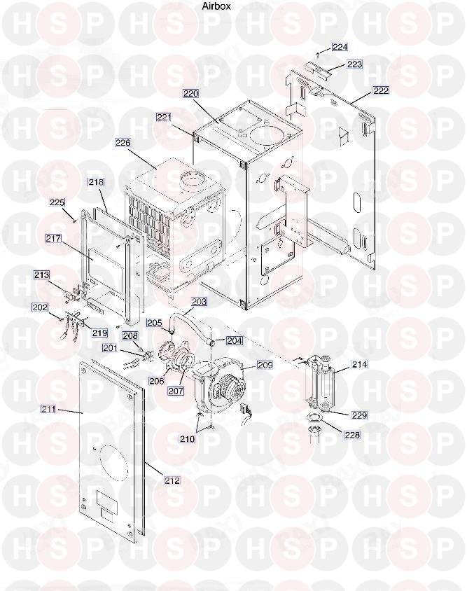 baxi solo 18 he appliance diagram  air box