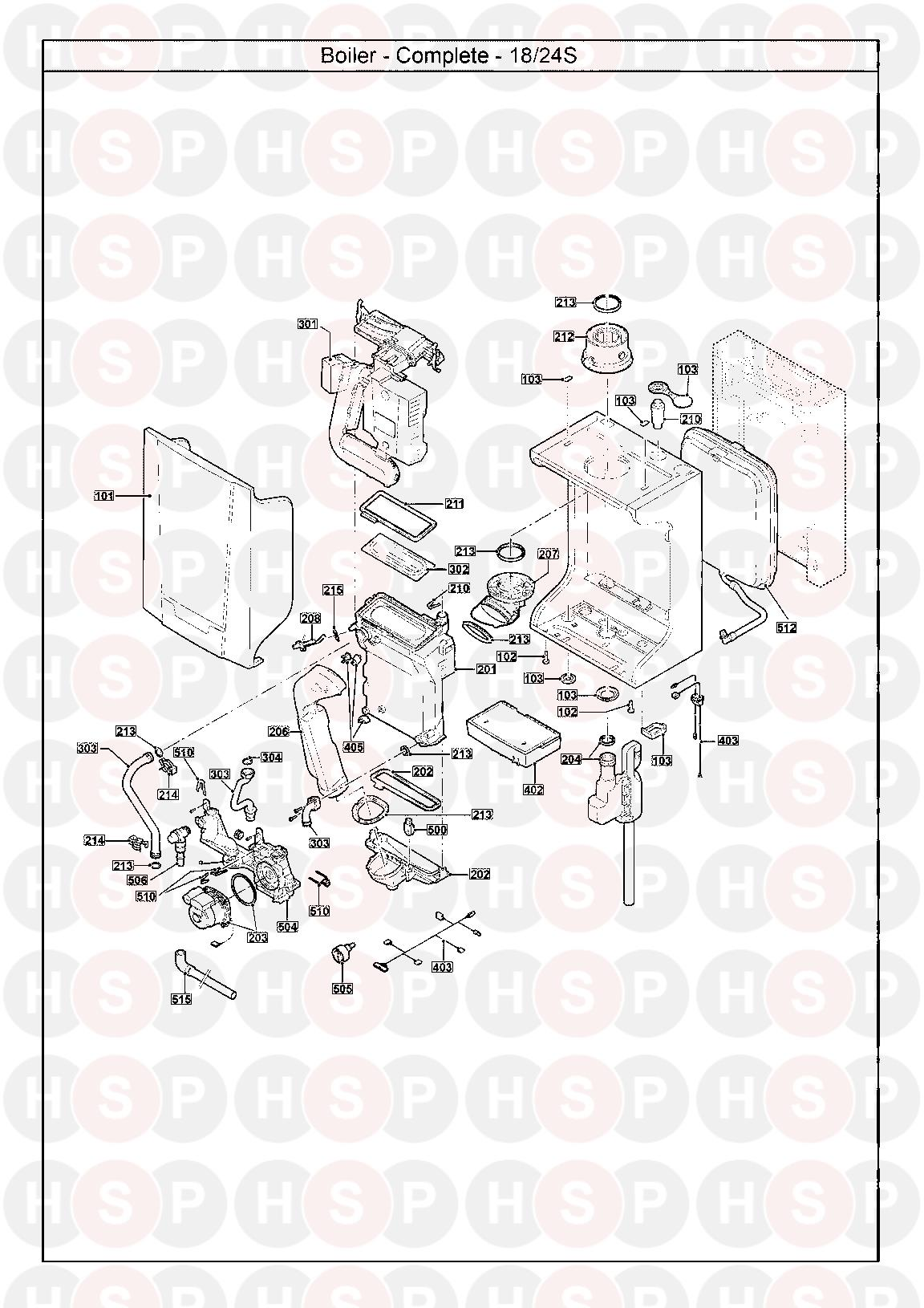 Baxi 24 Main Eco System  Exploded View Diagram