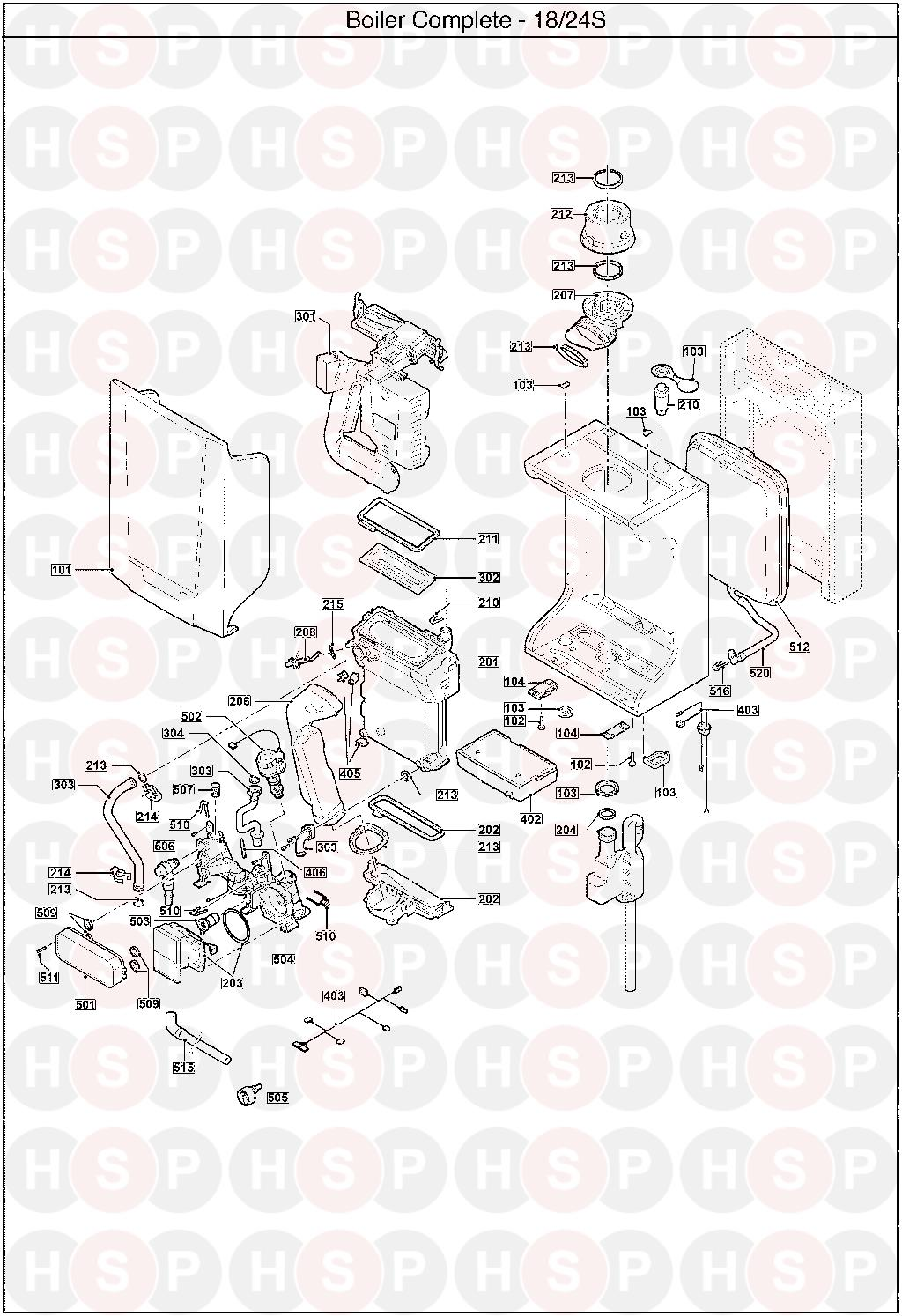 EXPLODED VIEW diagram for Baxi 18 SYSTEM ERP