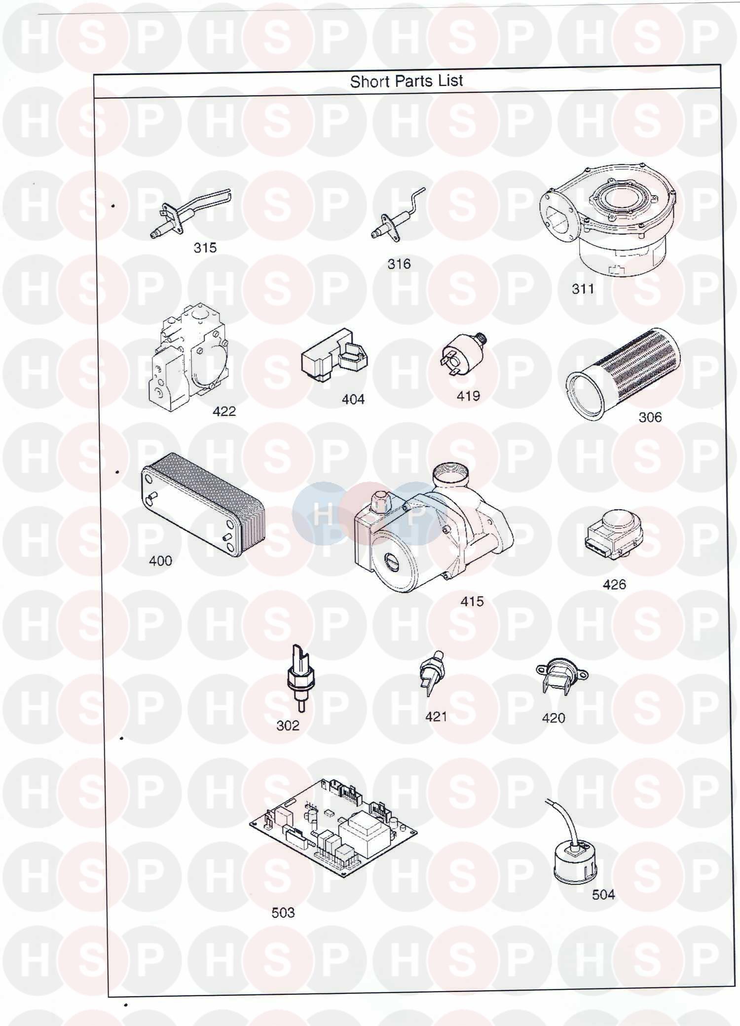 Baxi PLATINUM COMBI 33 HE A (SHORT PARTS LIST) Diagram