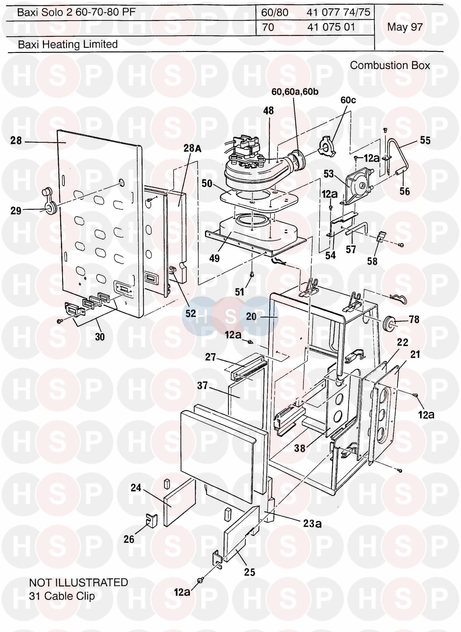 baxi solo pf 2 70 appliance diagram  combustion box