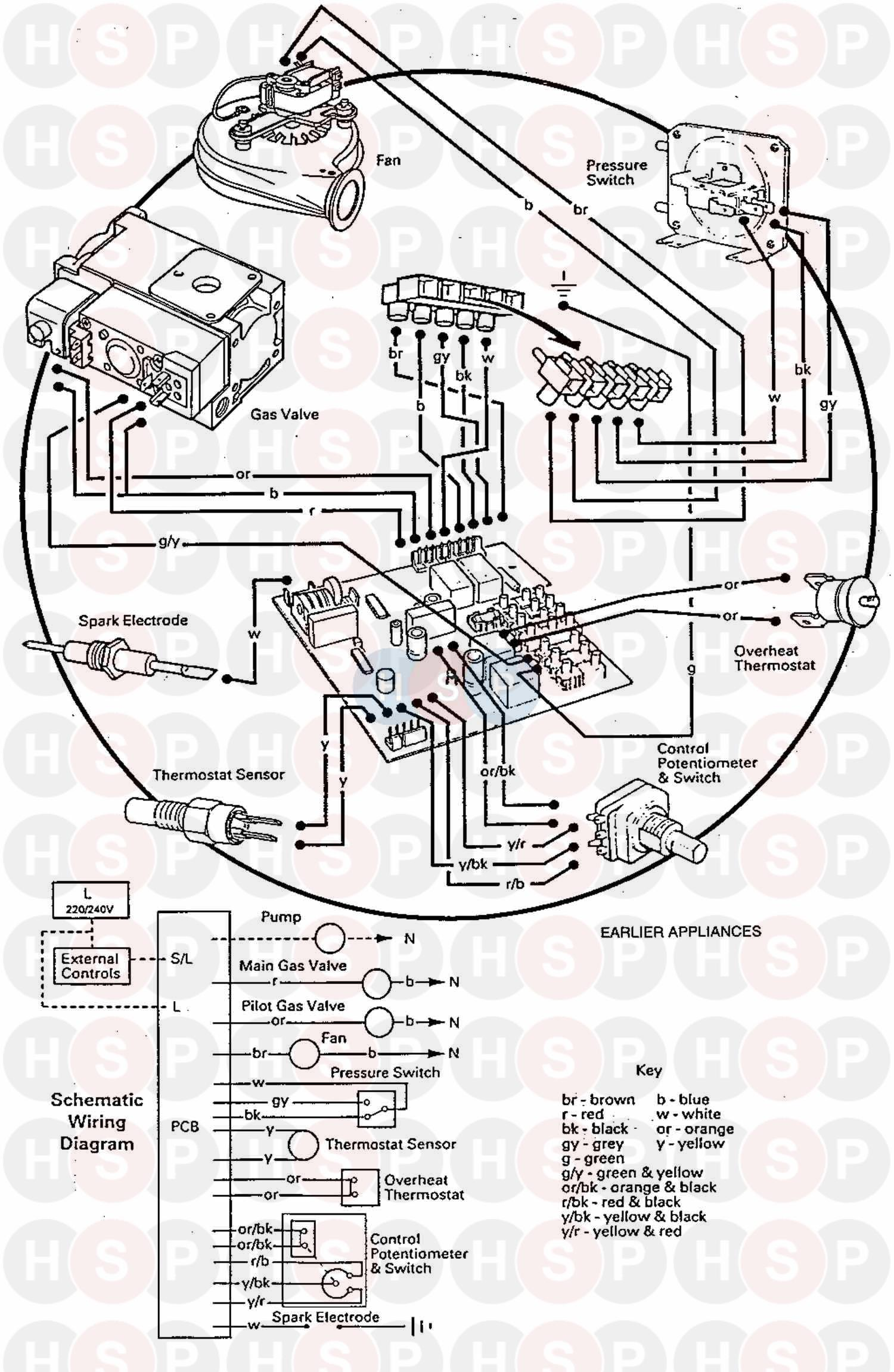 Baxi SOLO PF 2 60 (Wiring Diagram (Earlier Applia) Diagram