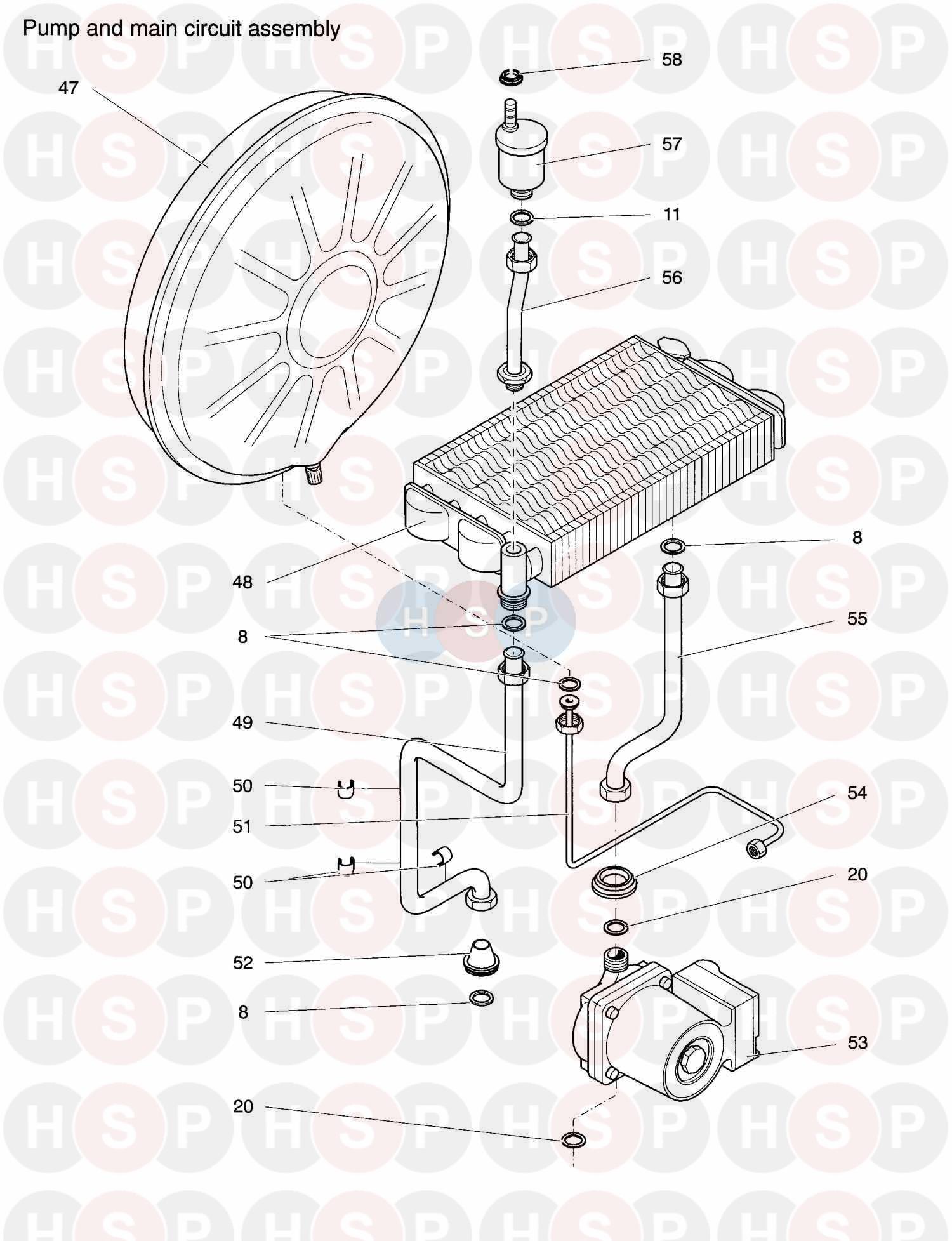 Biasi PRISMA 28S *200 (Pump & Main Circuit Group) Diagram