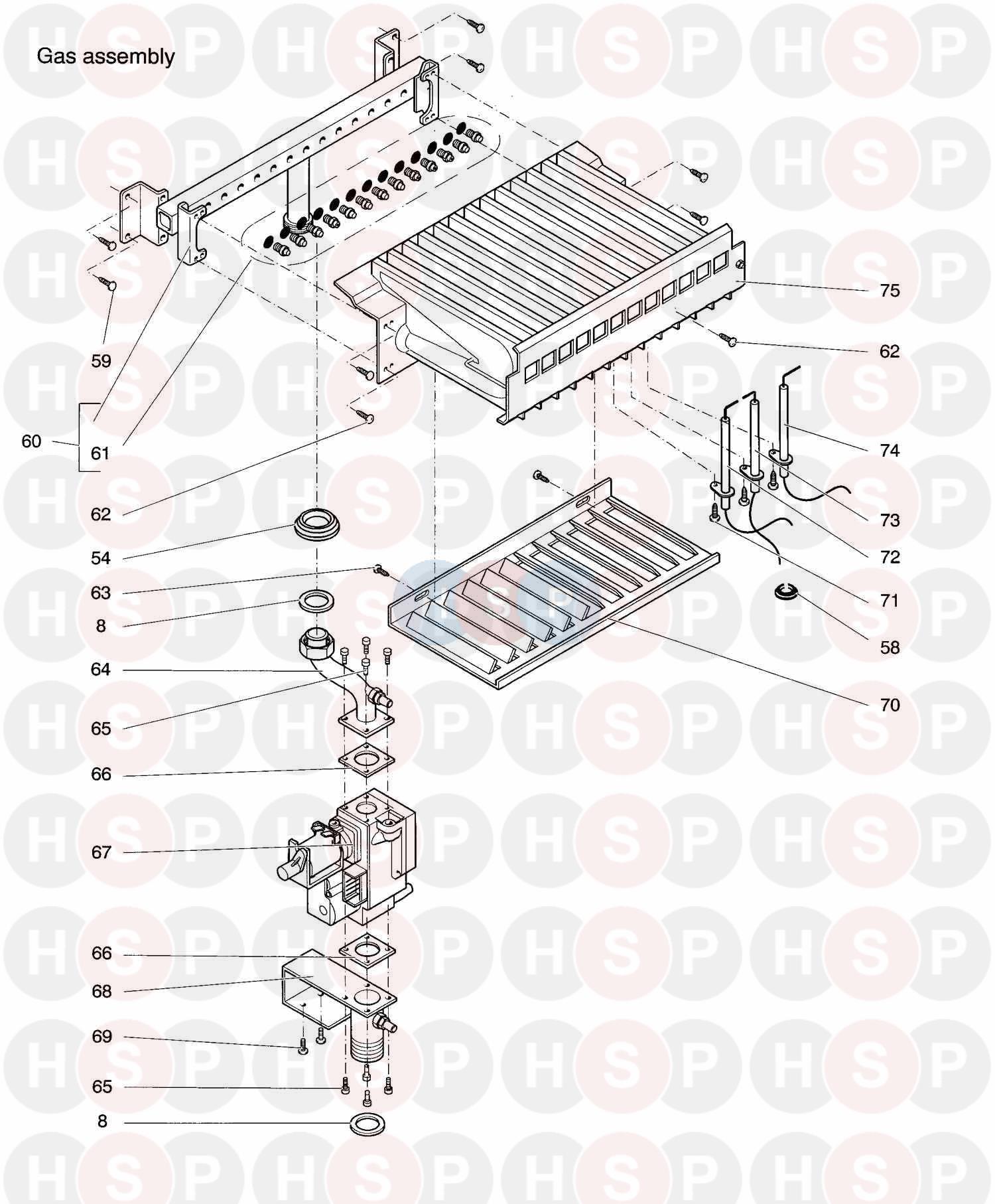 biasi prisma 24se  1998  appliance diagram  gas assembly