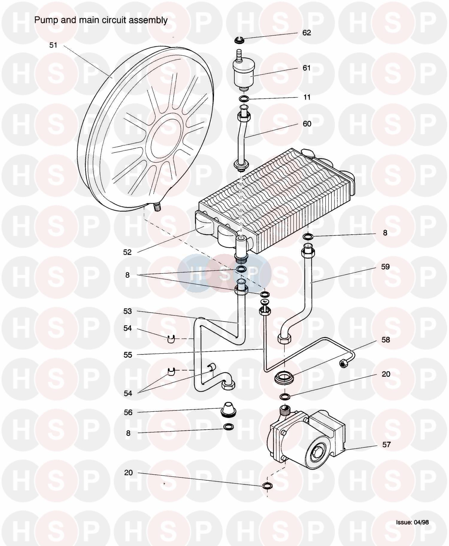 Biasi Savio Gaia 424rs  2001   Pump  U0026 Main Circuit Group