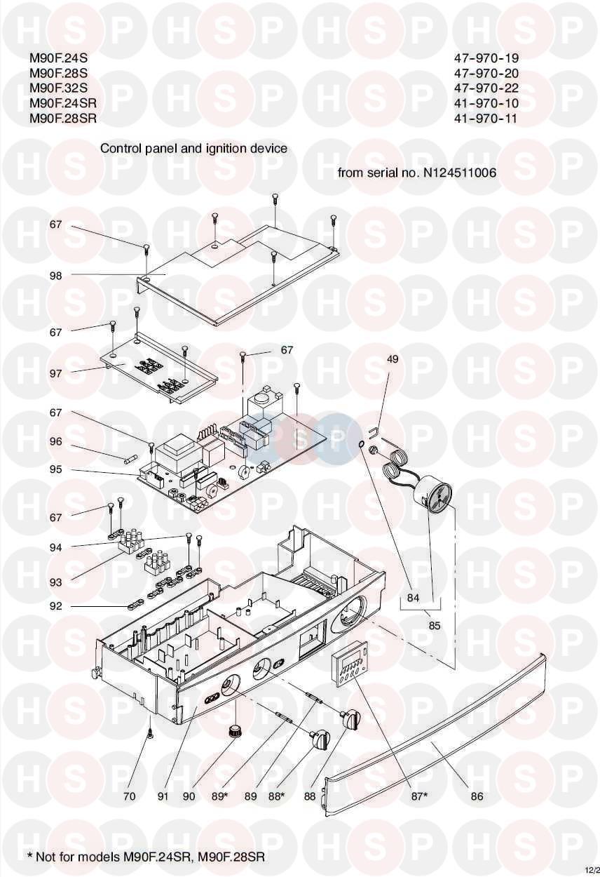 Biasi GARDA M90F 28S Appliance Diagram (CONTROL PANEL 2