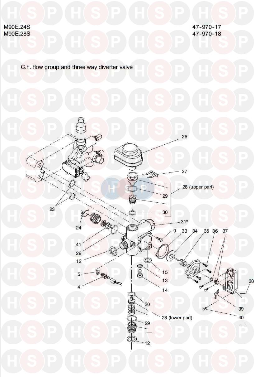 Biasi Riva Compact M90e 24s  Ch Flow Group And Three Way Valve Diagram