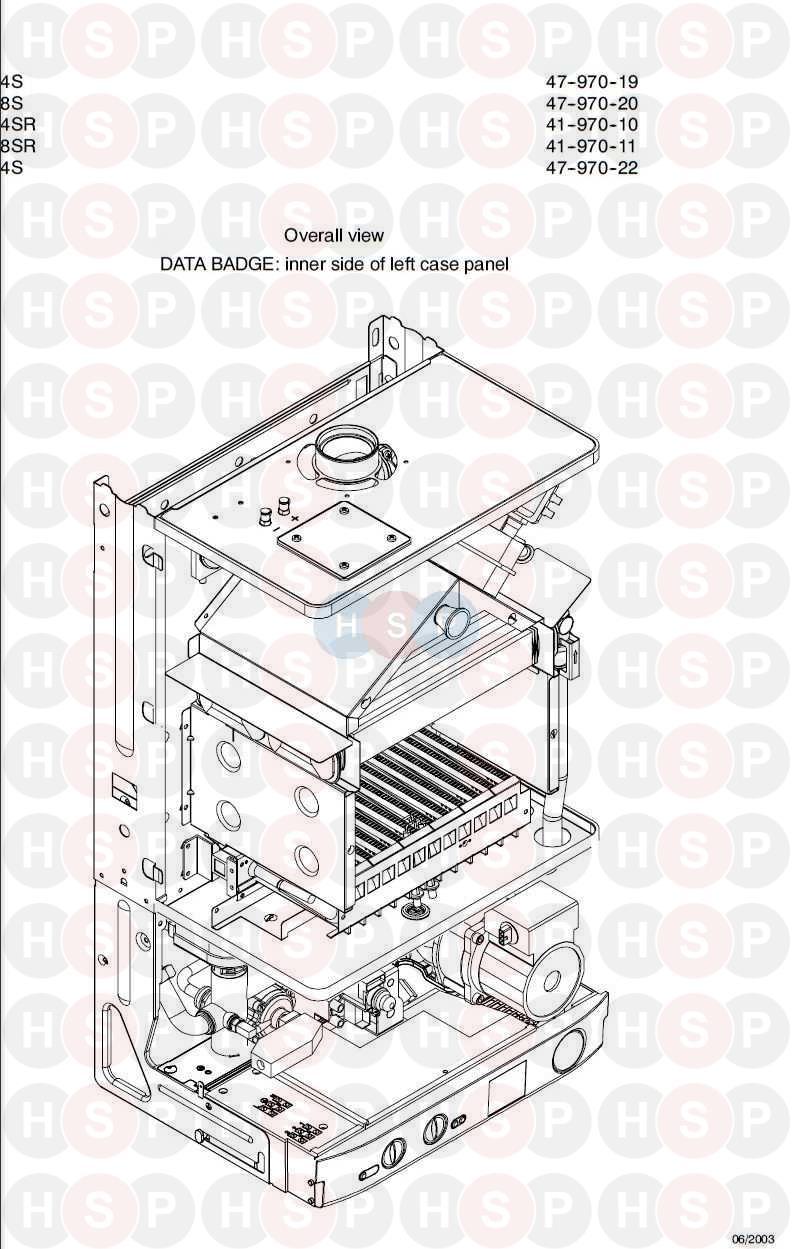 Biasi Garda M90f 28s  Appliance Overview Diagram