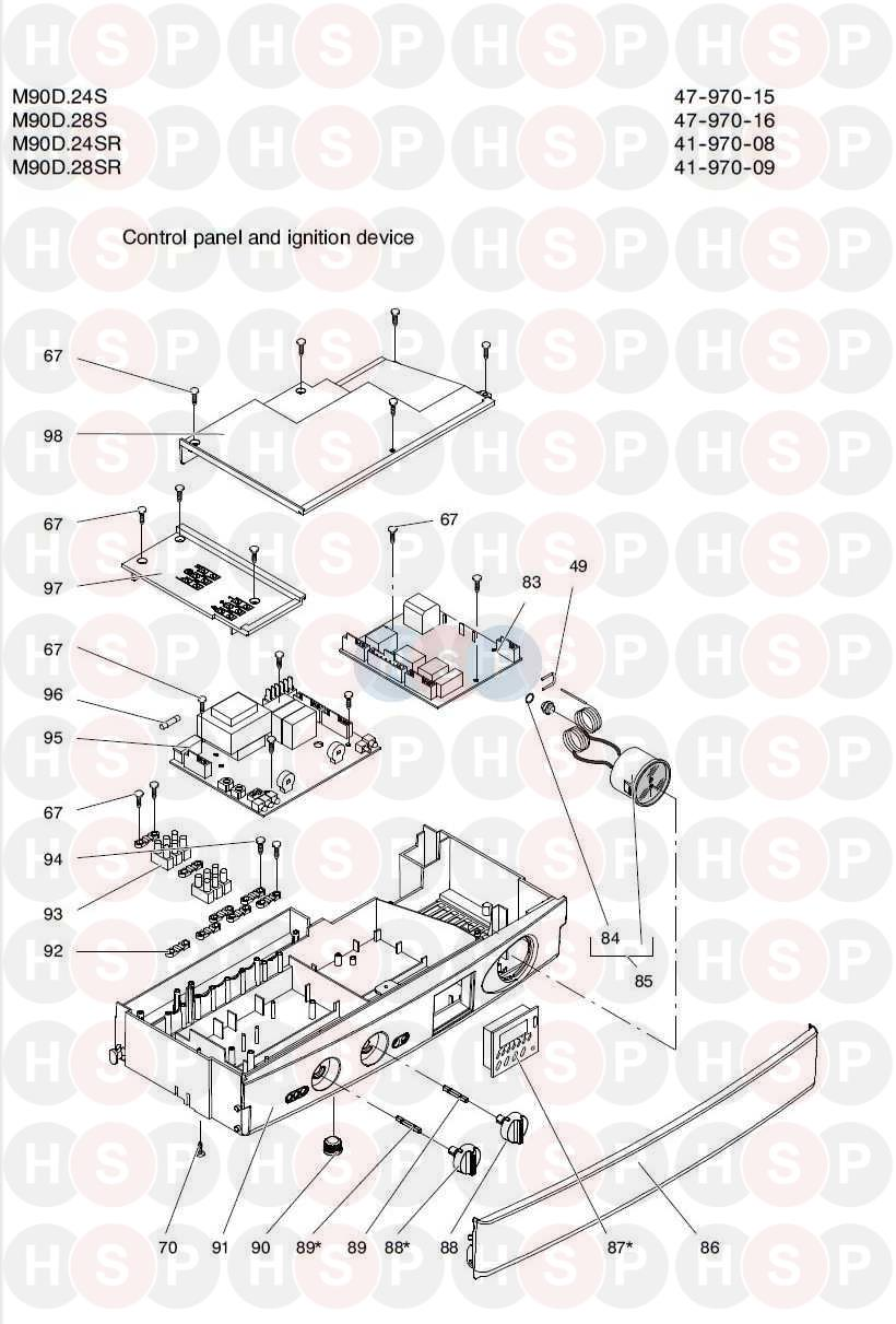 Biasi Riva Plus M90d 24sr  Control Panel Diagram