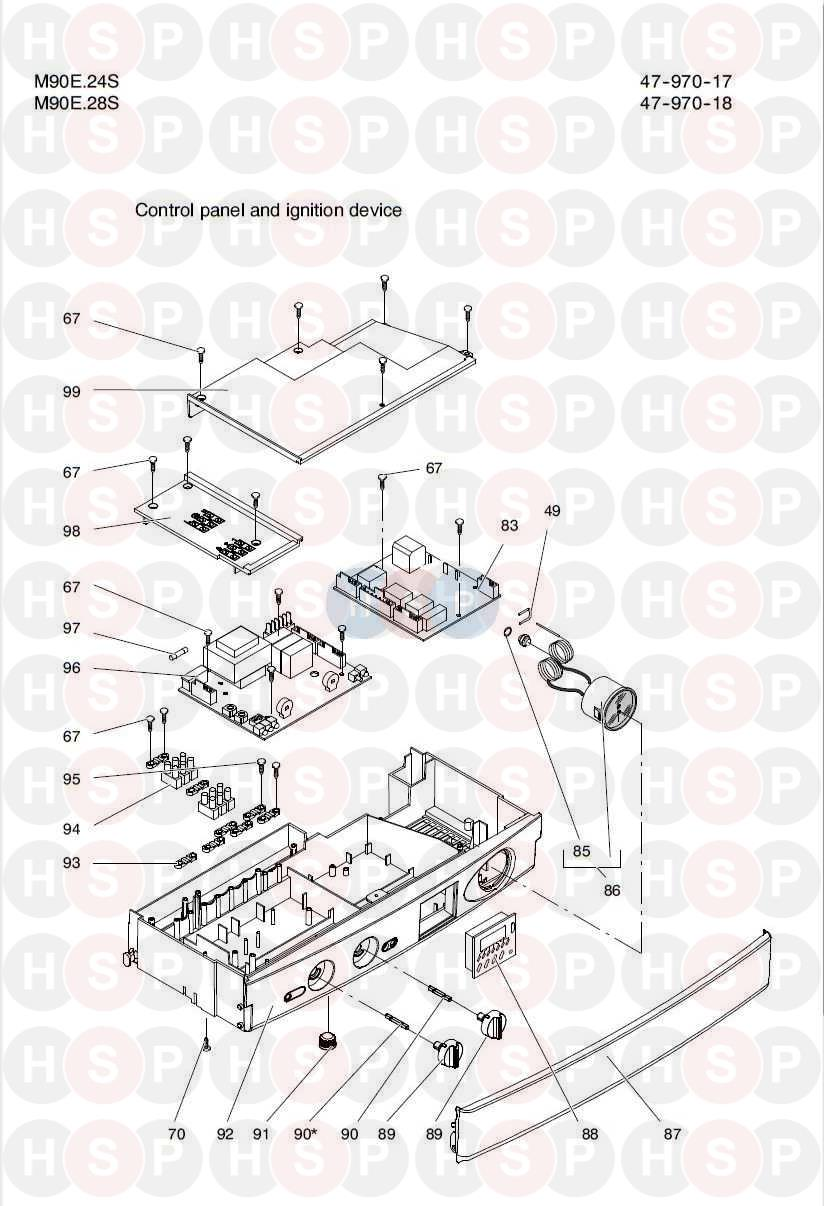 Biasi RIVA COMPACT M90E 24S (CONTROL PANEL) Diagram