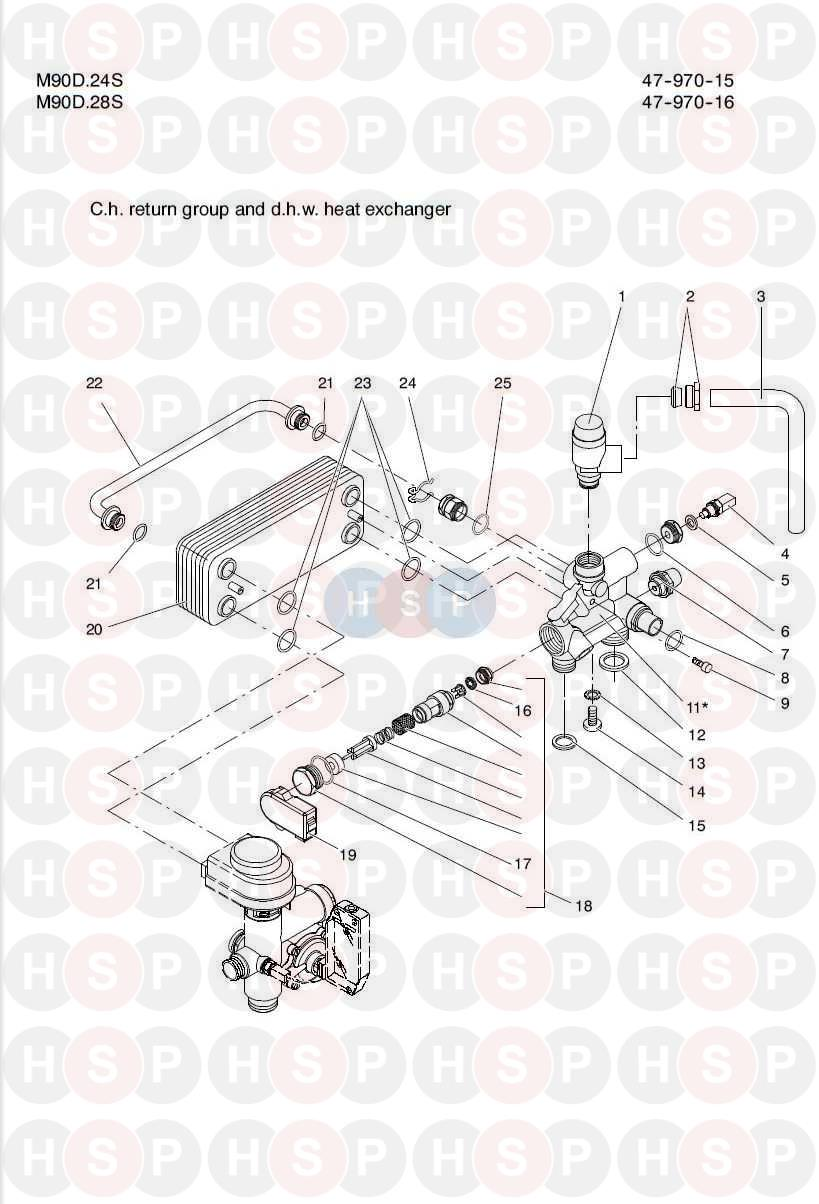 Biasi Riva Plus M90d 24s  Ch Return Group Dhw Heat Exchanger Diagram