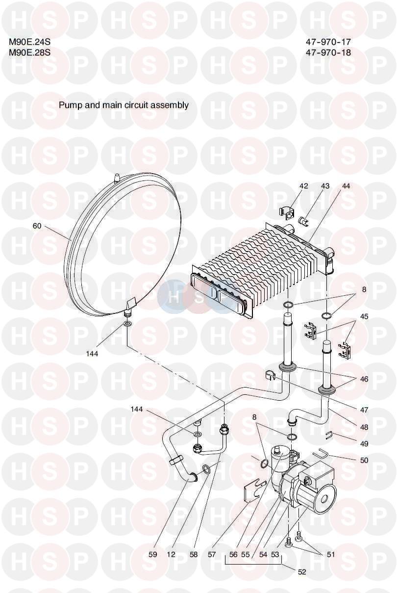 Biasi Riva Compact M90e 24s  Pump  U0026 Main Circuit Group Diagram
