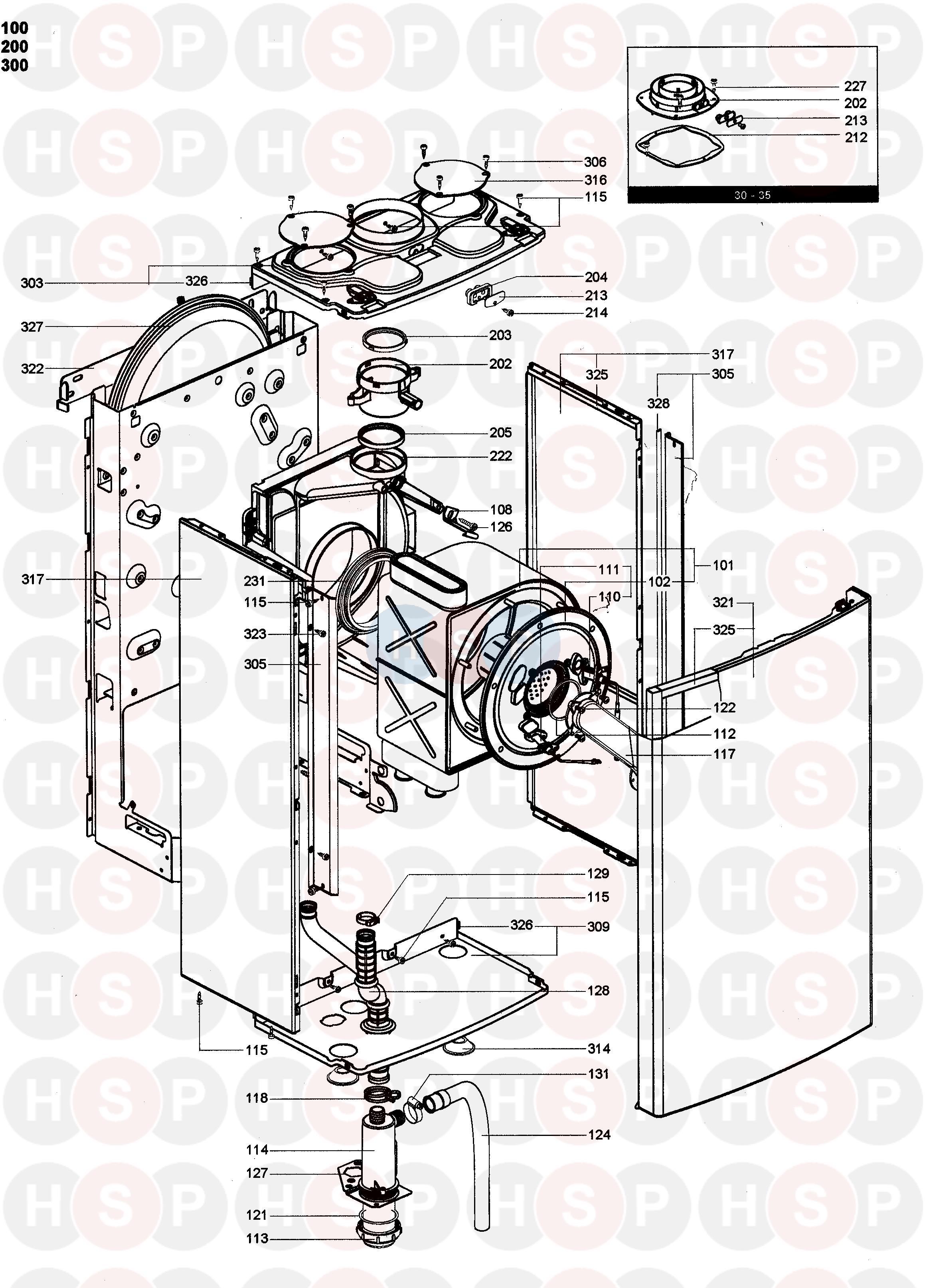 Chaffoteaux MINIMA HE 30 Appliance Diagram (Burner