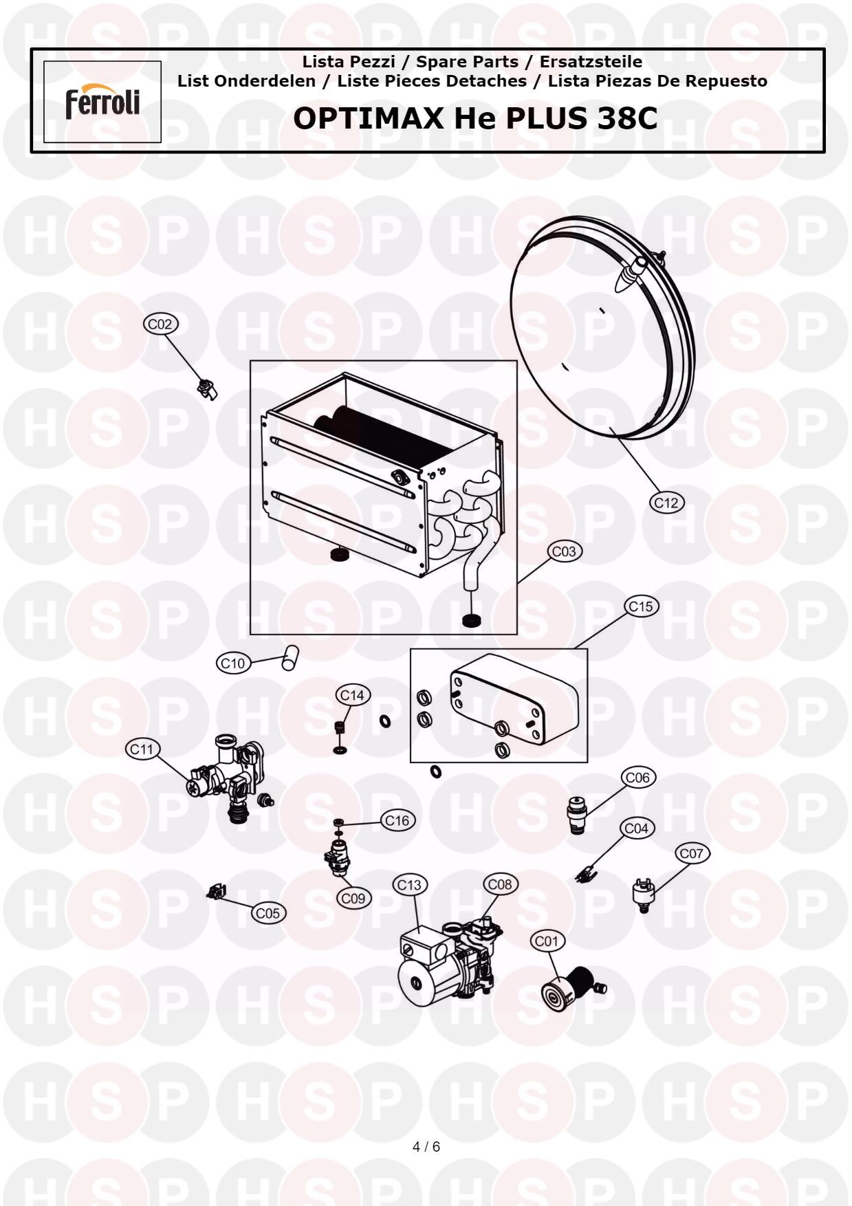 FERROLI OPTIMAX HE 38C BOILER COMPLETE PUMP 39820900 Wilo