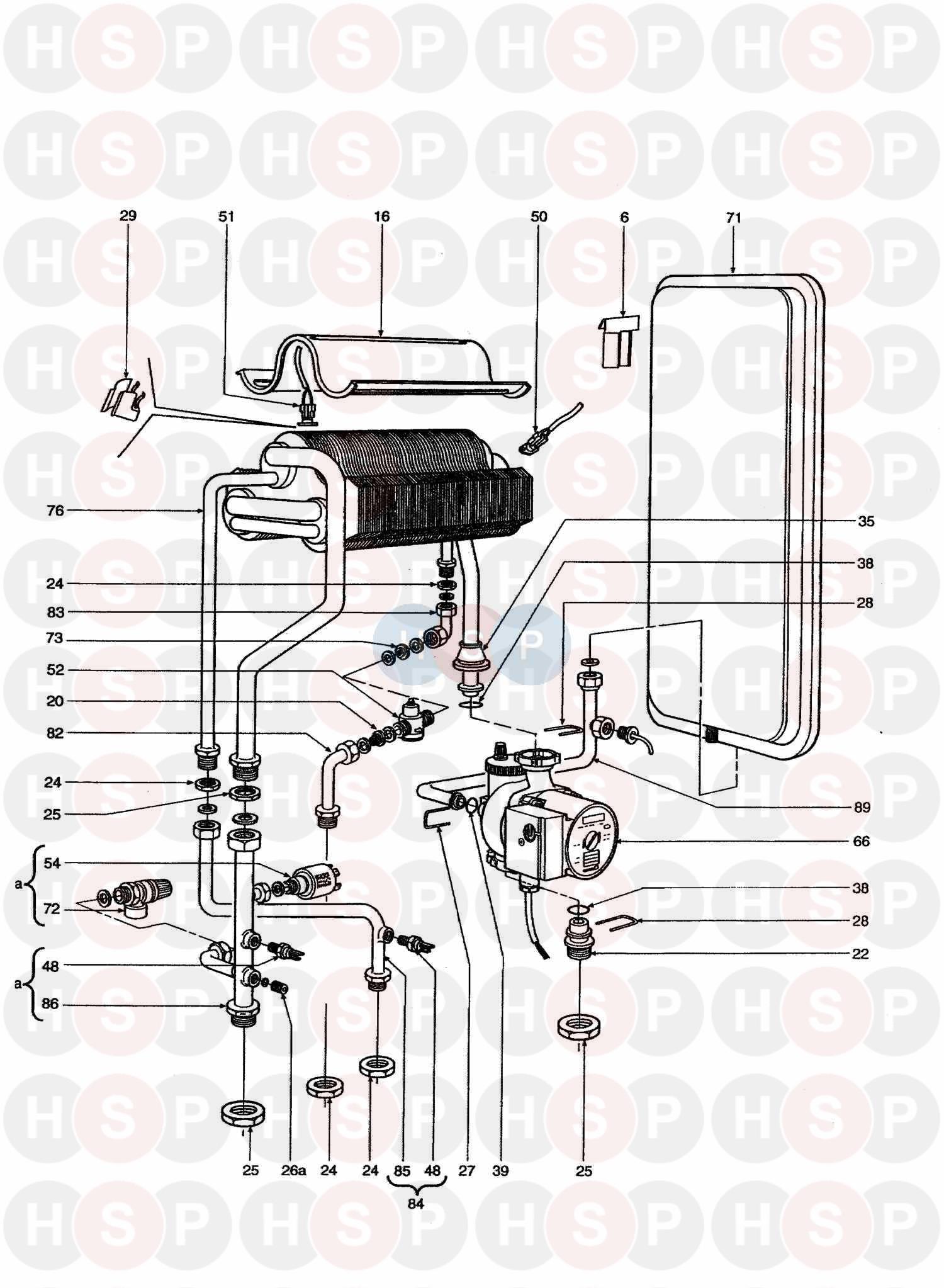 Ferroli MODENA 80E MF03 Appliance Diagram (HEAT EXCHANGER