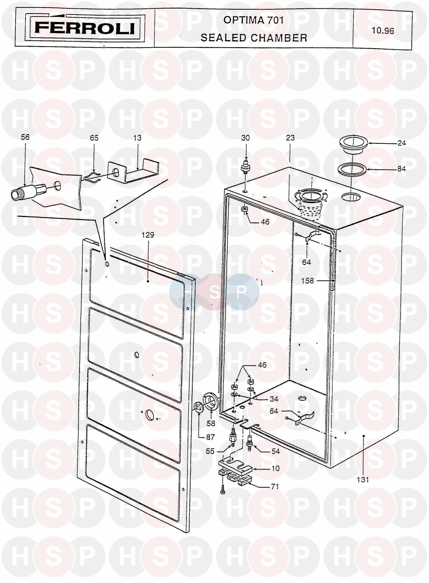 ferroli optima 701 boiler assembly 2 diagram heating spare