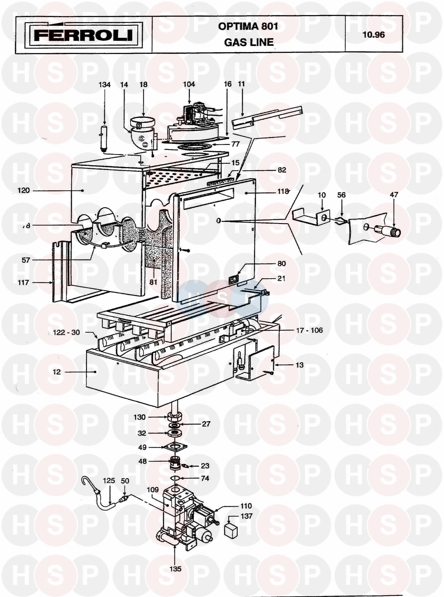 ferroli optima 801  burner  u0026 controls  diagram